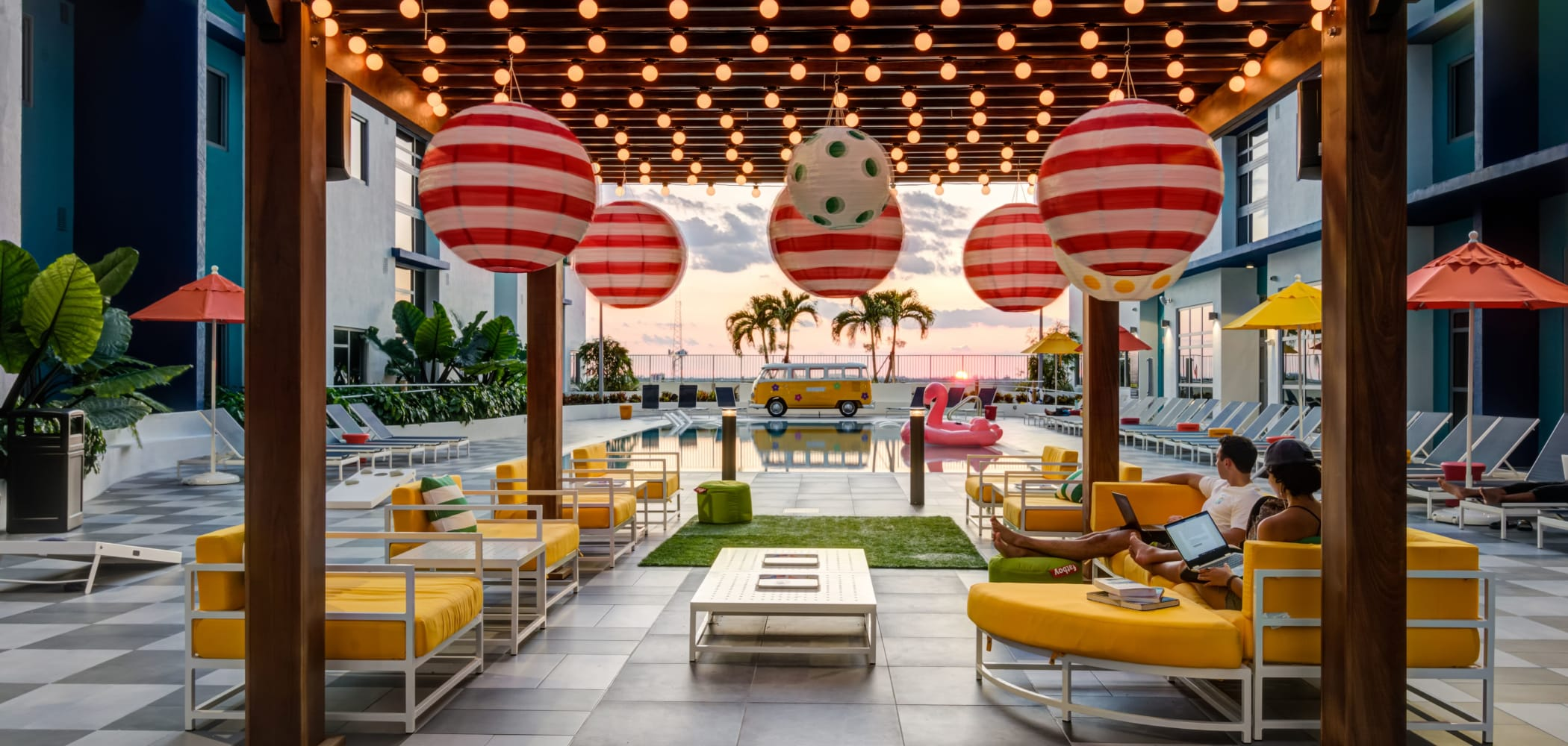 Well decorated outdoor lounge at IDENTITY Miami in Miami, Florida