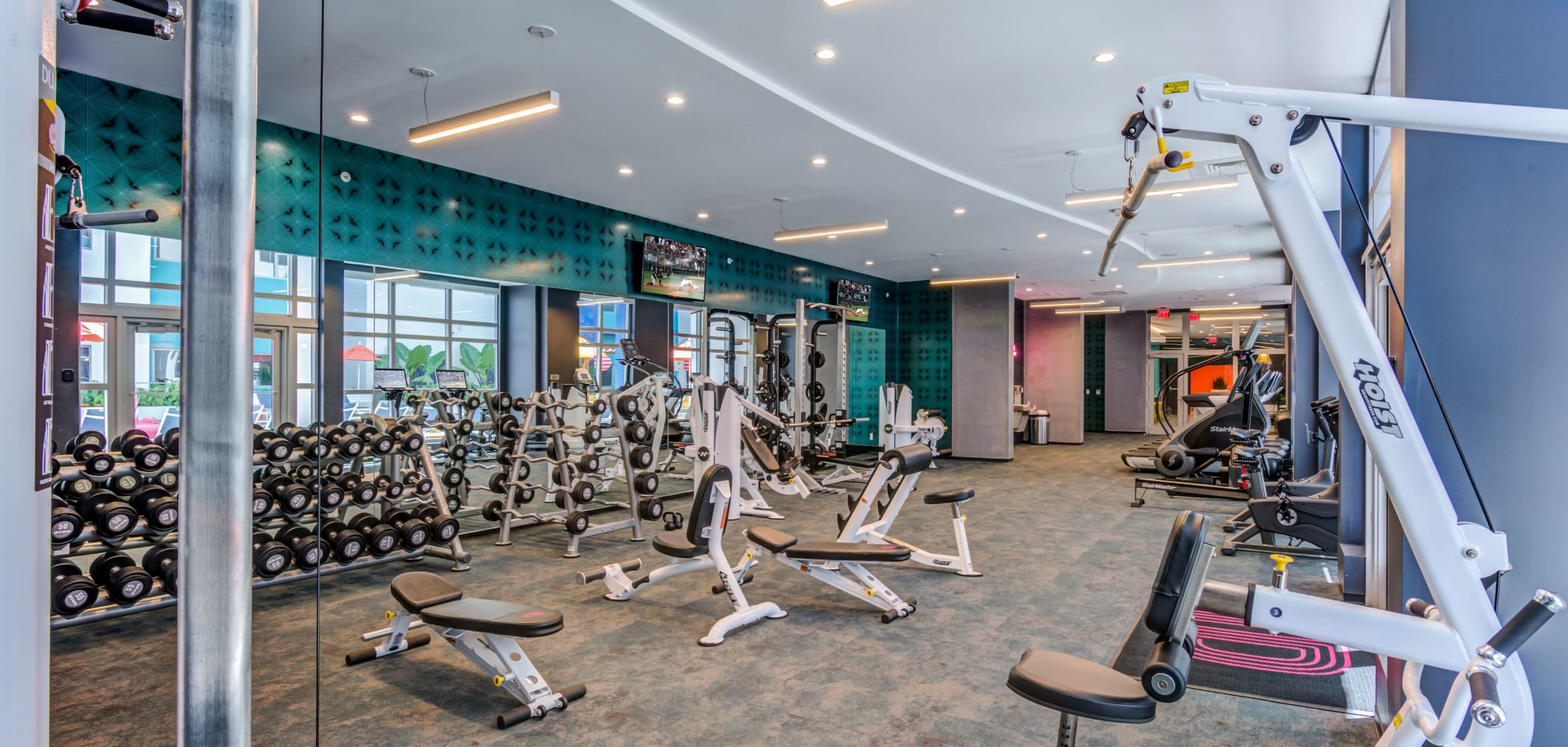 Fitness center for residents at IDENTITY Miami in Miami, Florida