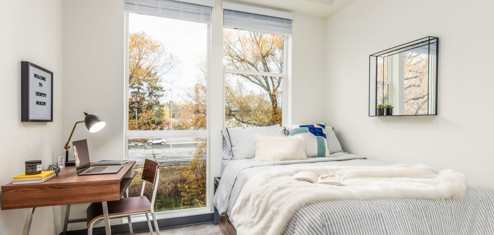 Cozy bedroom with a view at IDENTITY Moscow in Moscow, Idaho