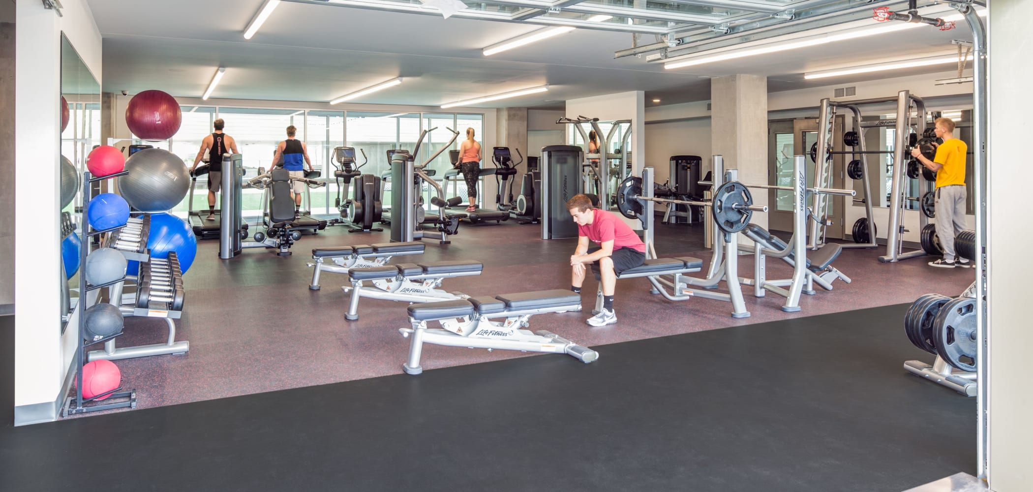 Fitness center for residents at LATITUDE in Lincoln, Nebraska