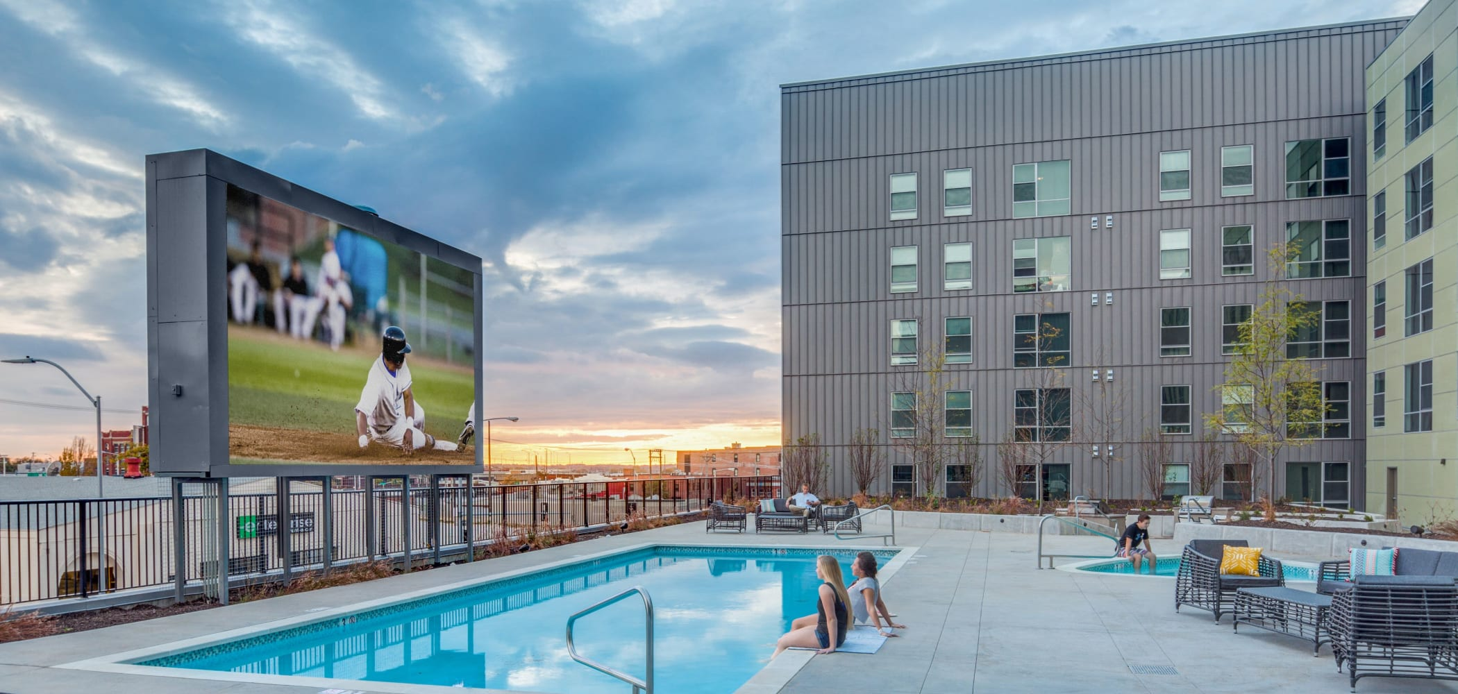 Resort-style swimming pool at LATITUDE in Lincoln, Nebraska