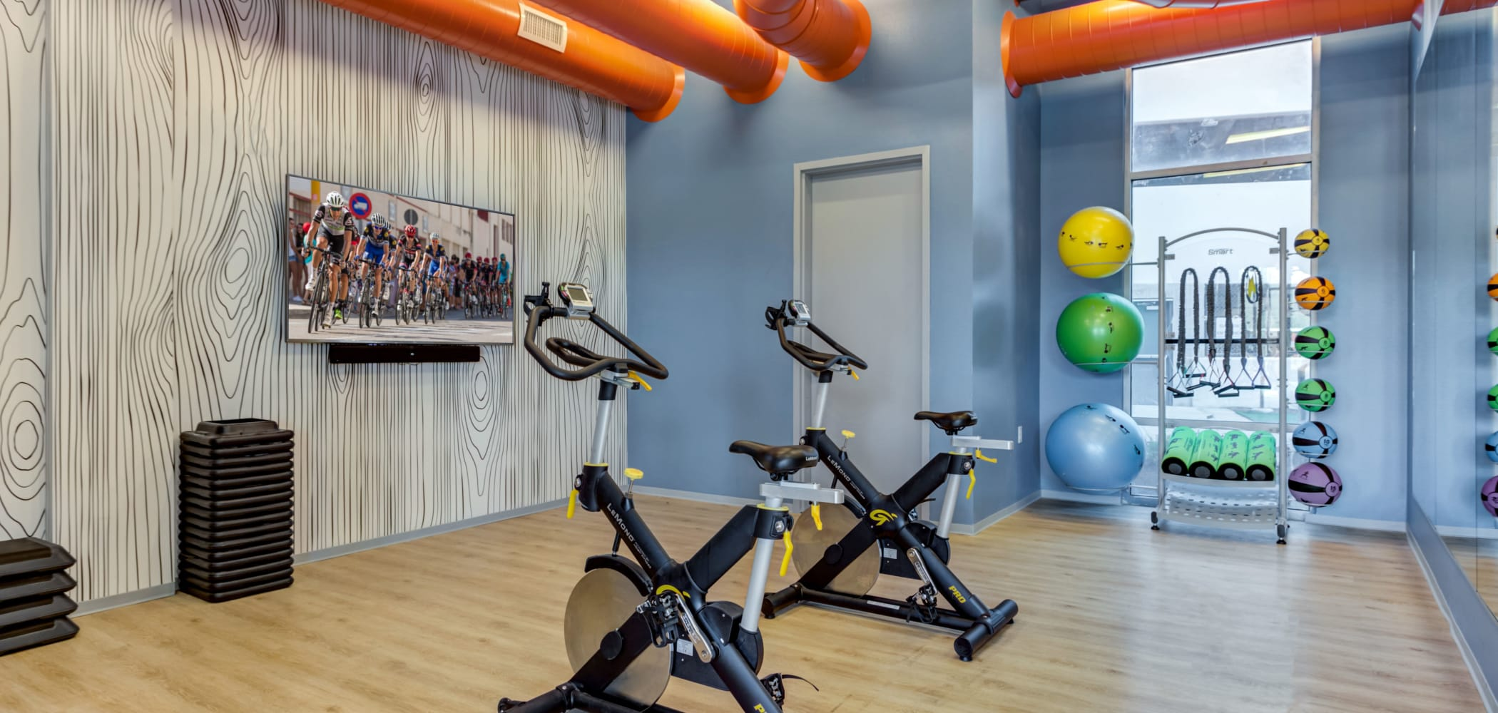 Spin studio at LATITUDE at River Landing in Coralville, Iowa