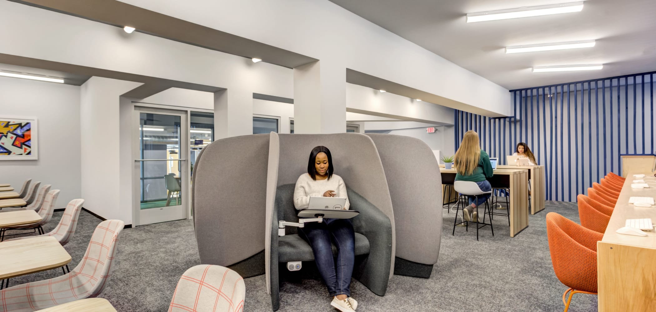 Study spaces at LATITUDE at River Landing in Coralville, Iowa