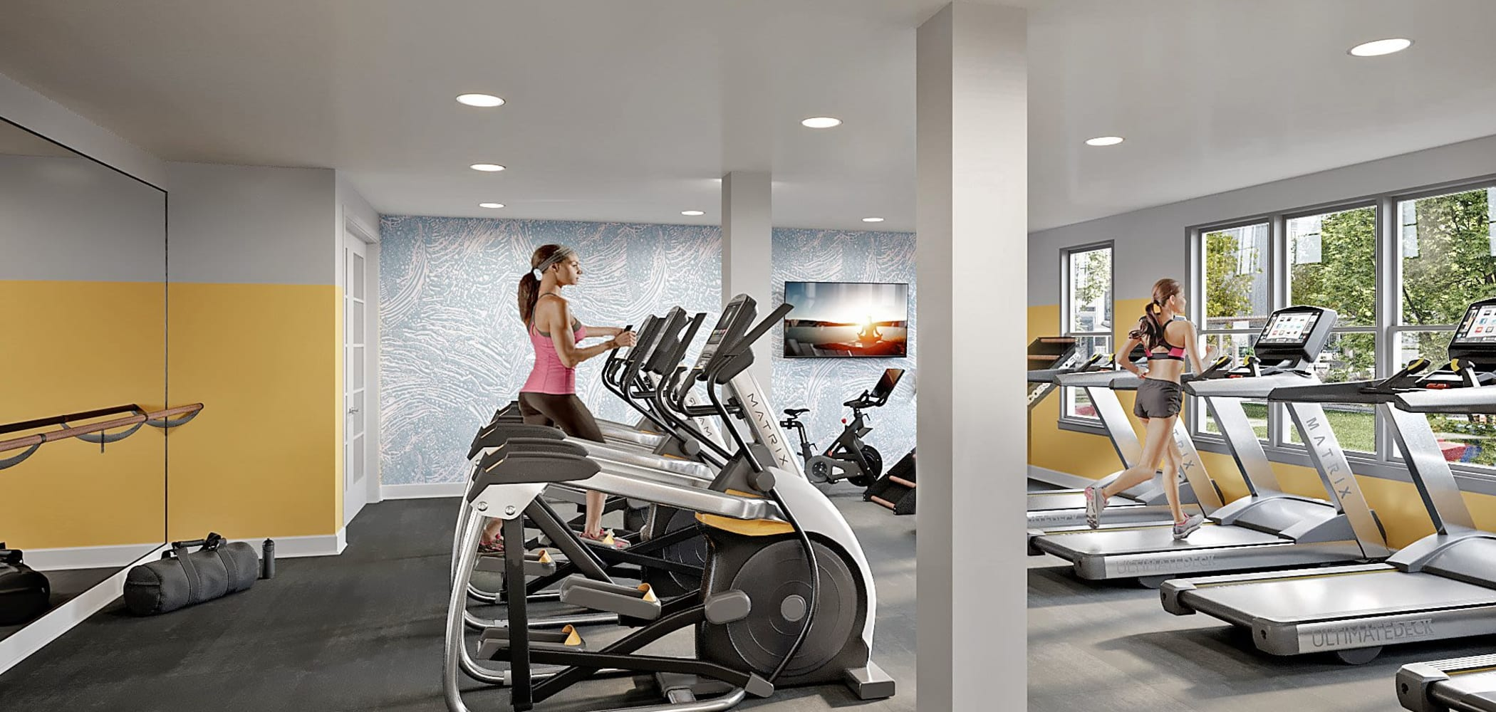Fully equipped fitness center at LATITUDE on Hillsborough in Raleigh, North Carolina