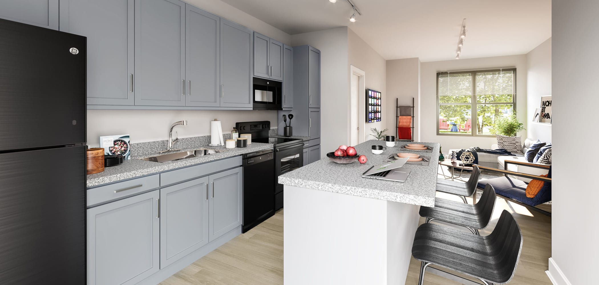 Sleek, modern kitchen at LATITUDE on Hillsborough in Raleigh, North Carolina
