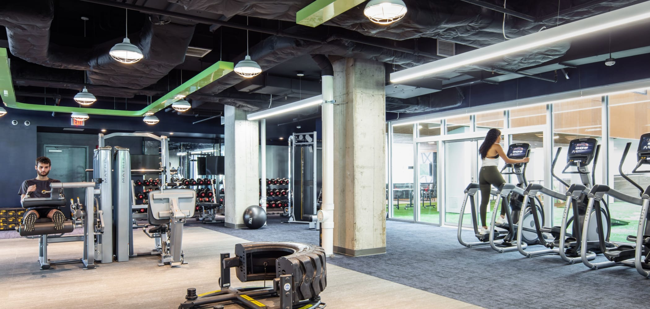 Fitness center for residents at RISE at State College in State College, Pennsylvania