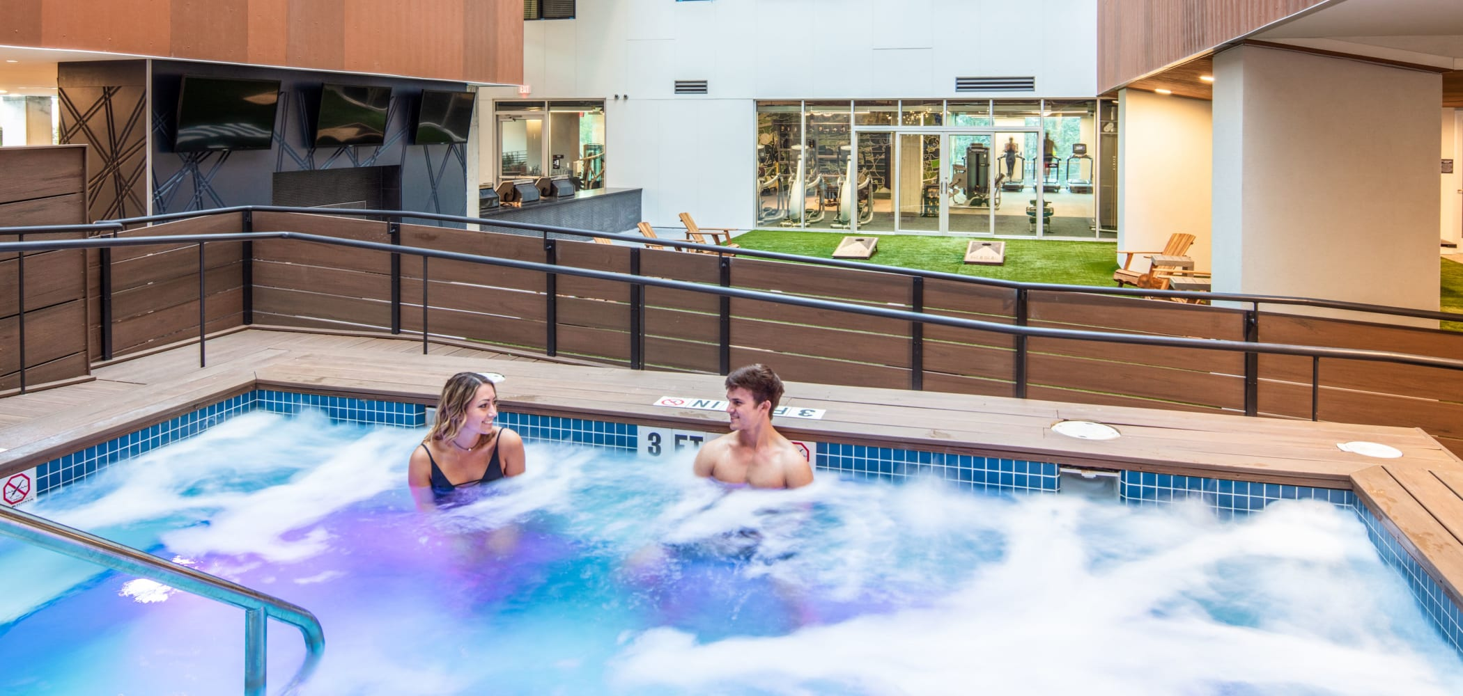 Large hot tub at RISE at State College in State College, Pennsylvania