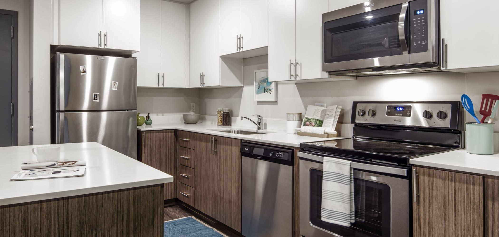 Sleek, modern kitchen at RISE on Apache in Tempe, Arizona