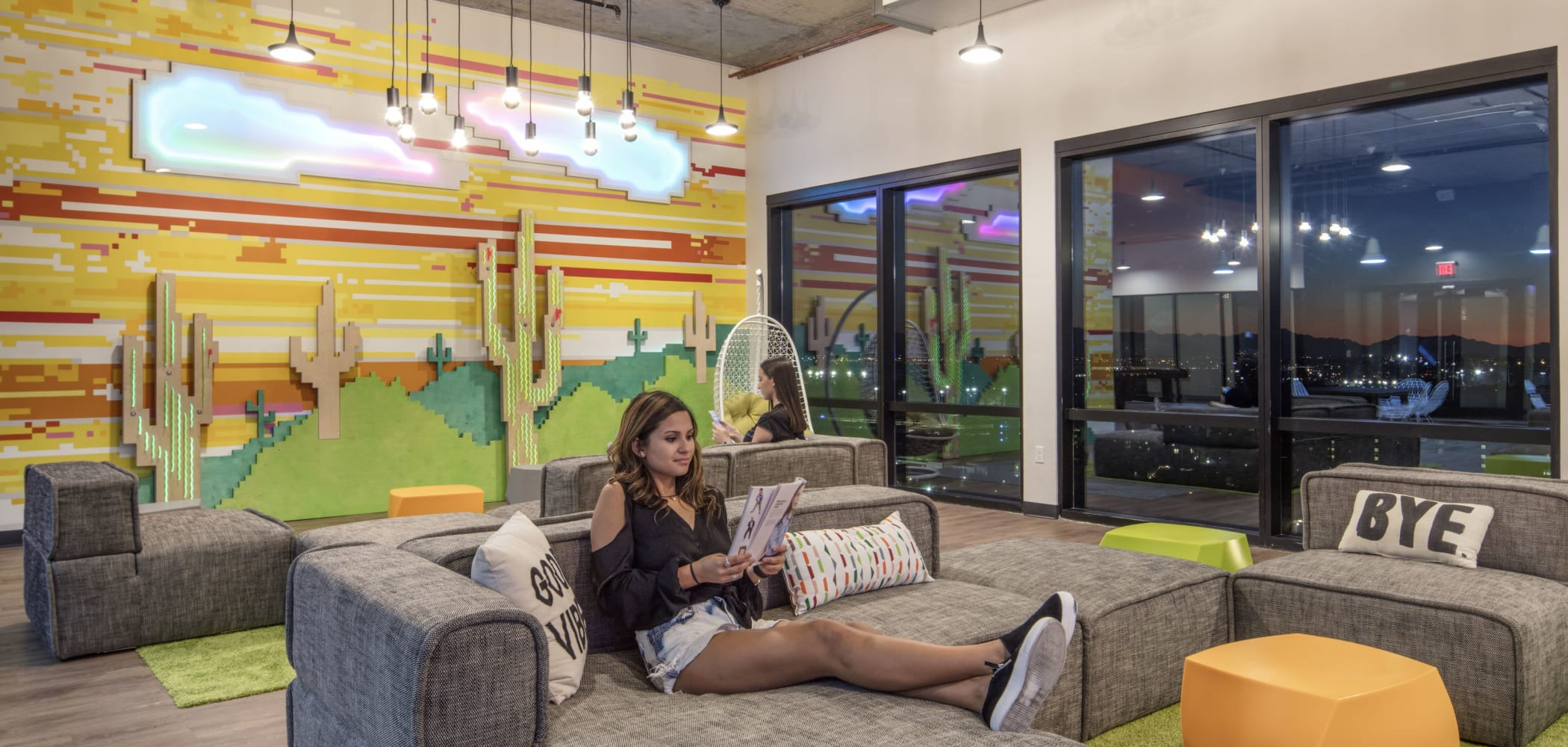Indoor community lounge at RISE on Apache in Tempe, Arizona
