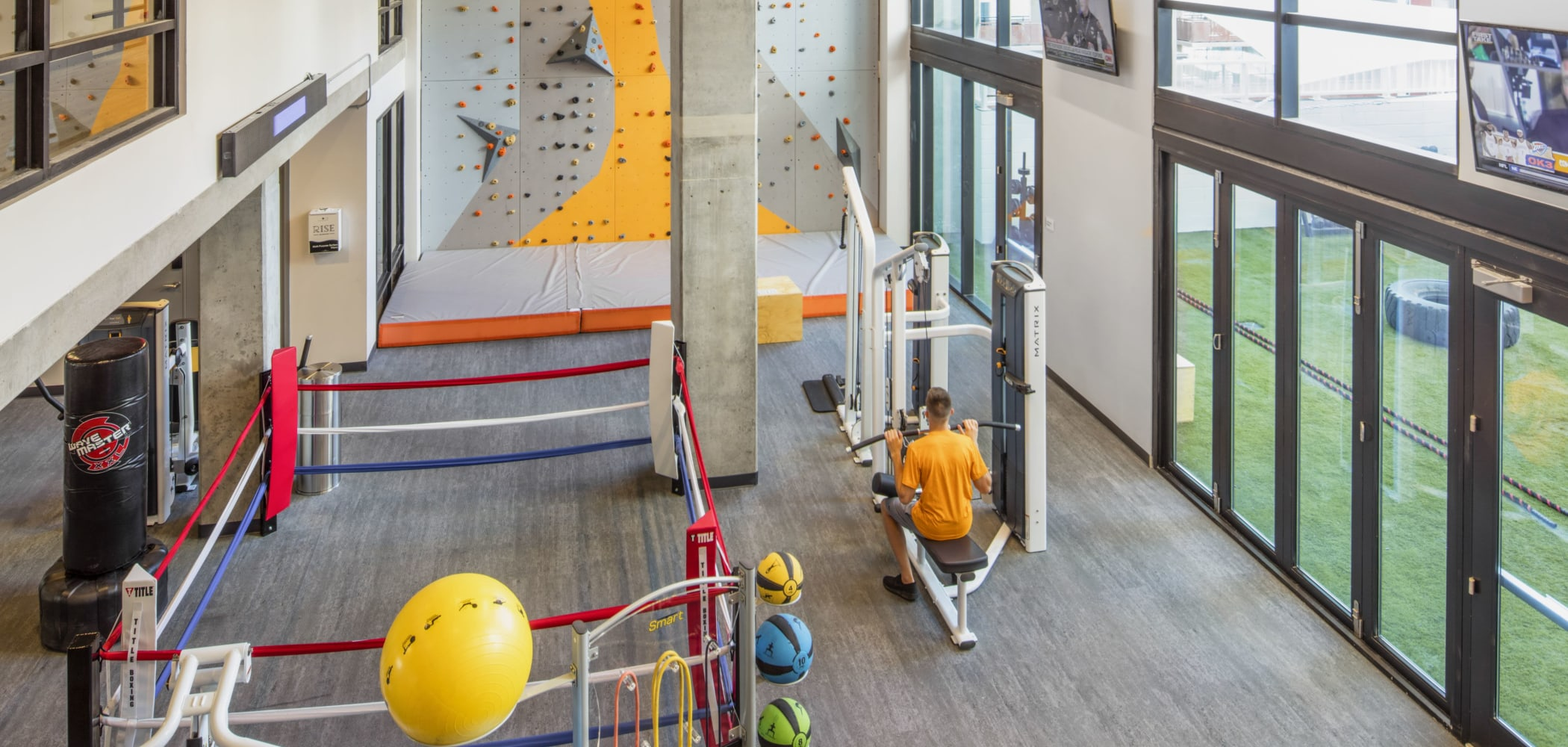 Fully equipped fitness center at RISE on Apache in Tempe, Arizona