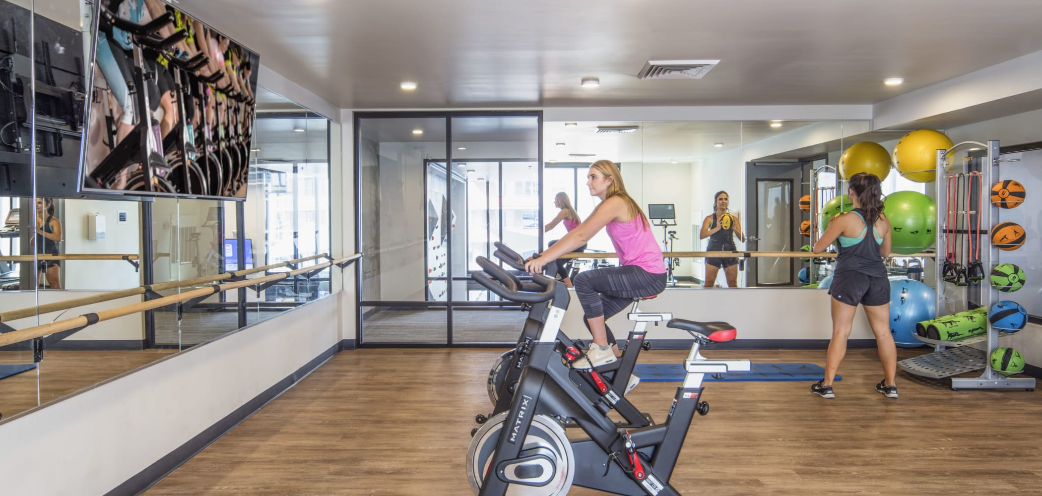 Yoga studio and spin room at RISE on Apache in Tempe, Arizona