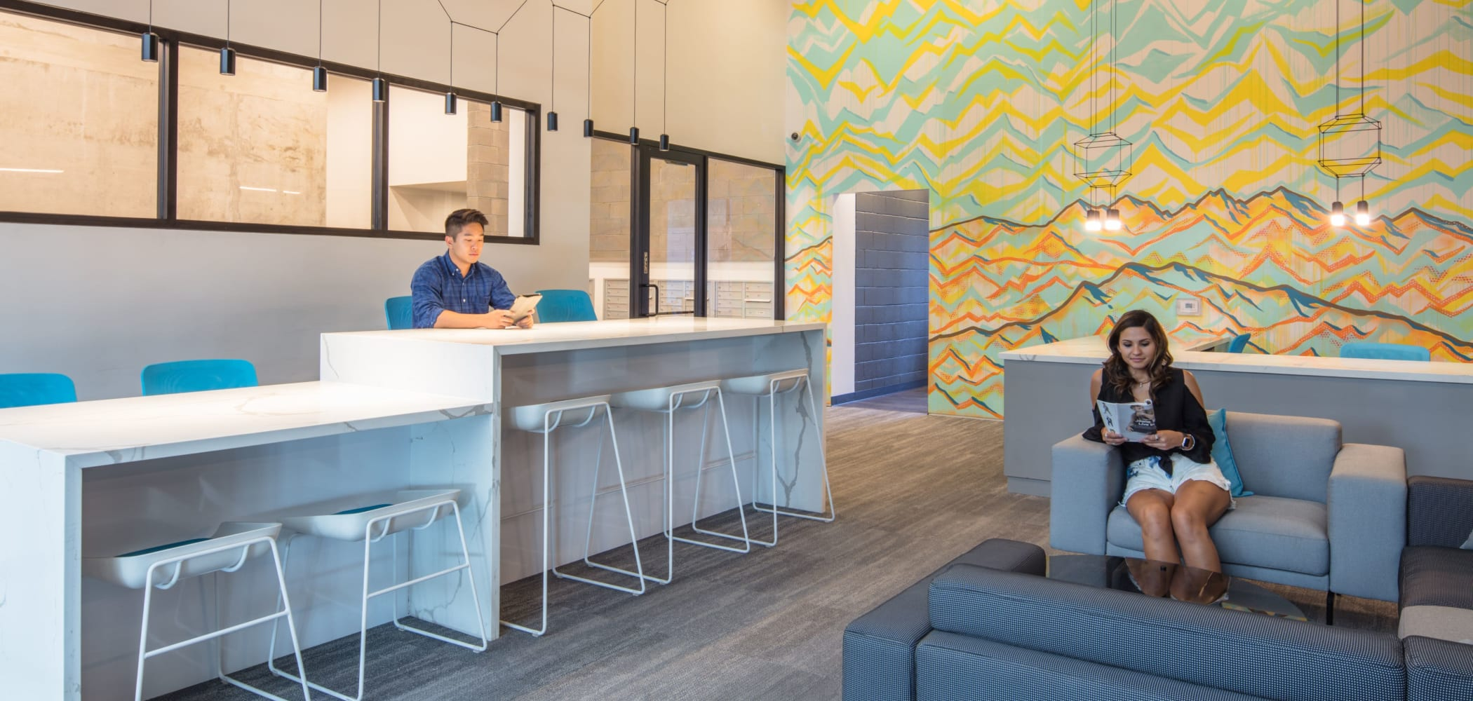 Community space for studying at RISE on Apache in Tempe, Arizona
