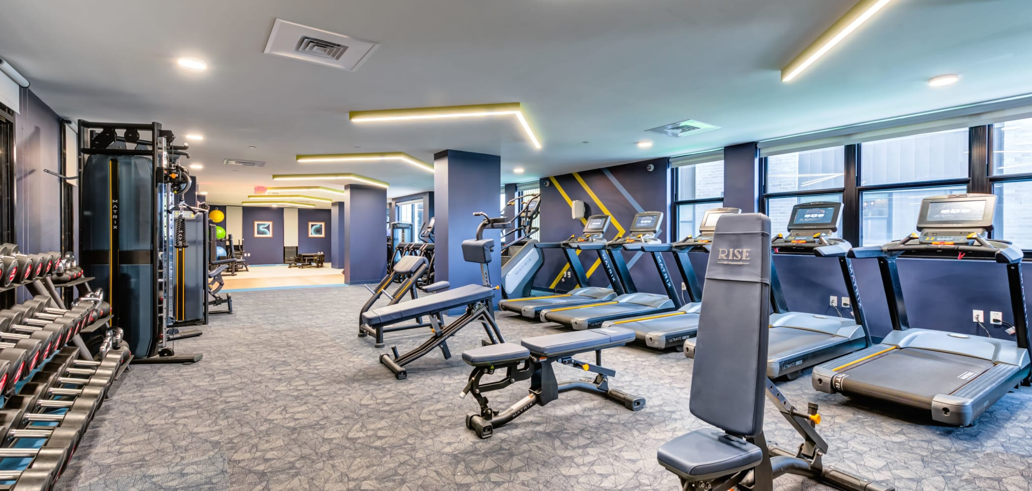 Fully equipped fitness center at RISE on Chauncey in West Lafayette, Indiana