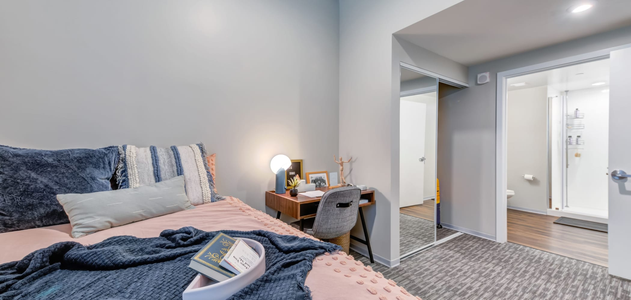 Cozy bedroom at RISE on Chauncey in West Lafayette, Indiana