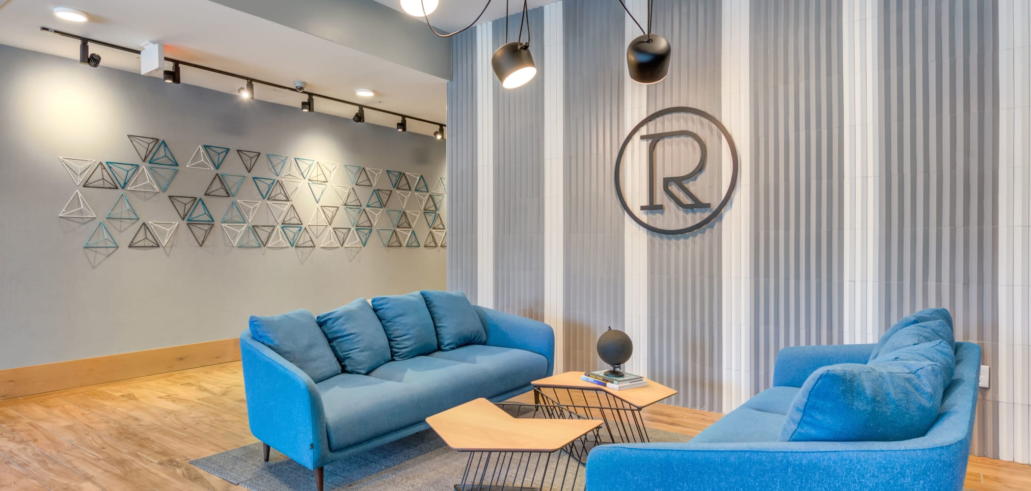Indoor clubroom lounge at RISE on Chauncey in West Lafayette, Indiana