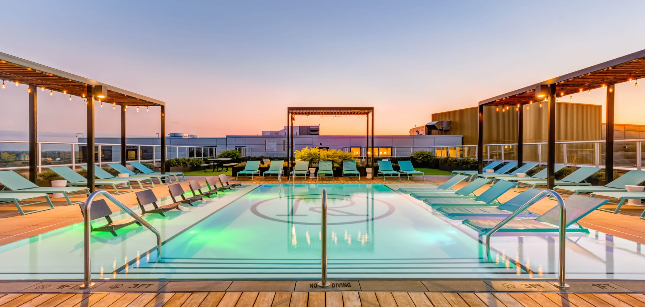 Sparkling swimming pool at RISE on Chauncey in West Lafayette, Indiana