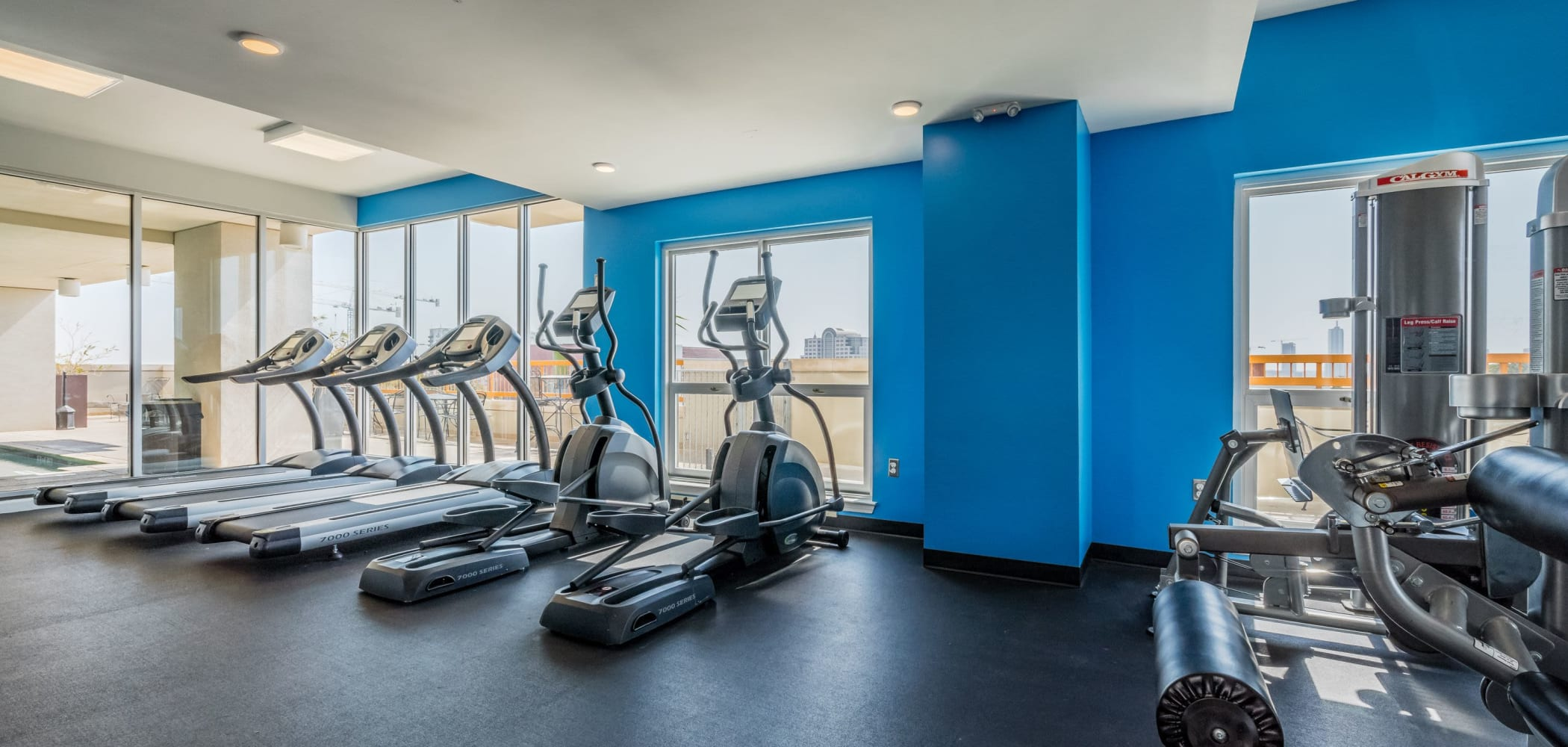 Fully equipped fitness center at 21 Rio in Austin, Texas