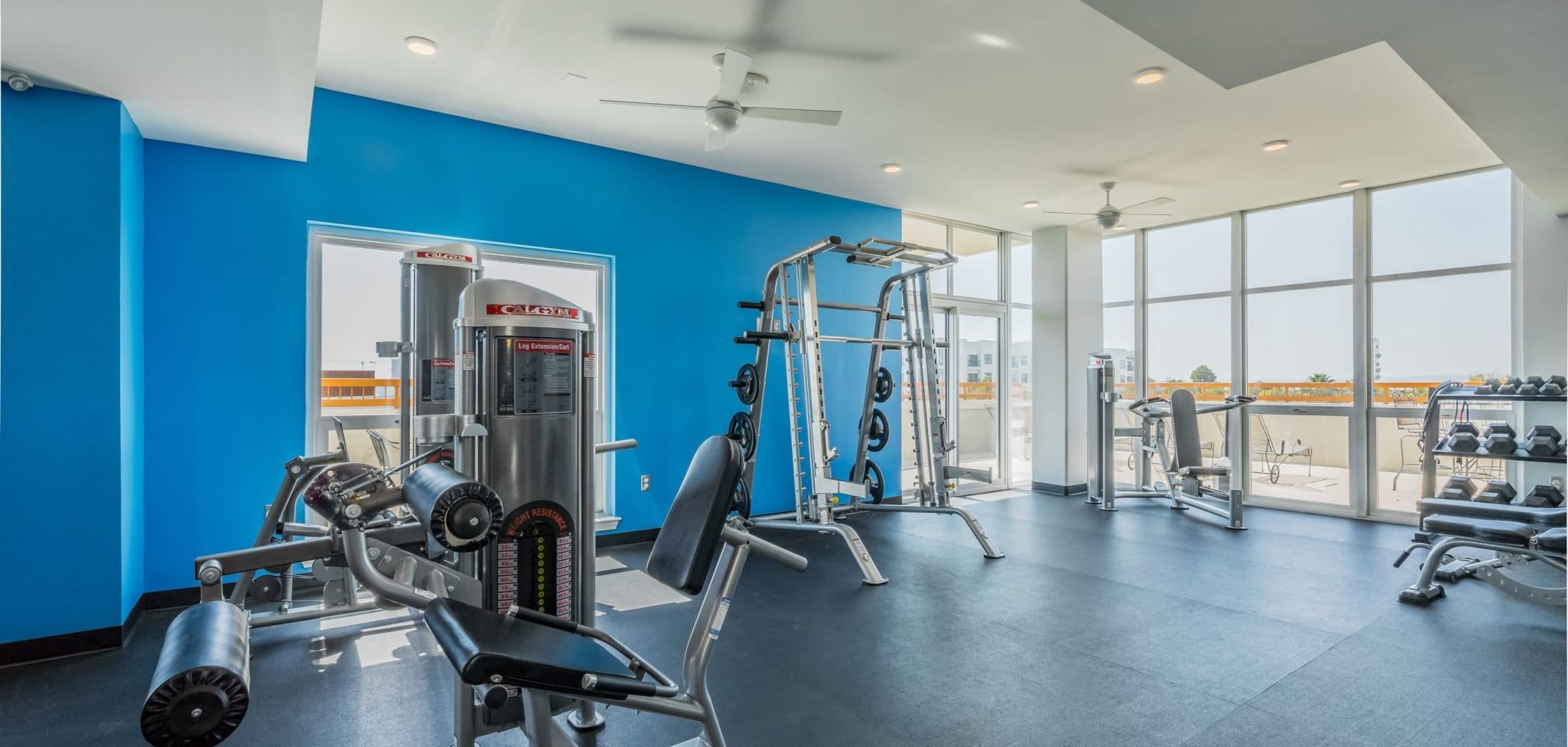 Fitness center with a view at 21 Rio in Austin, Texas