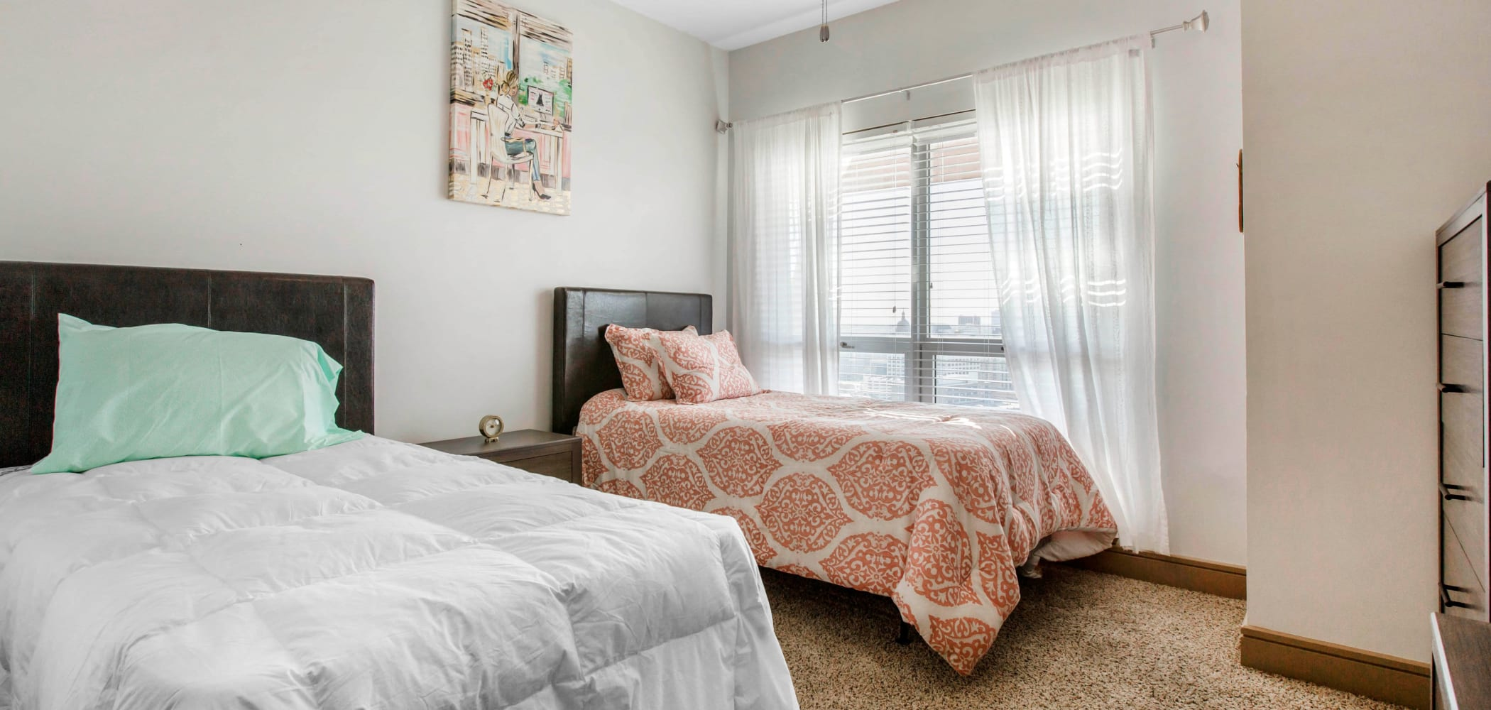 Bedroom with space to study at 21 Rio in Austin, Texas