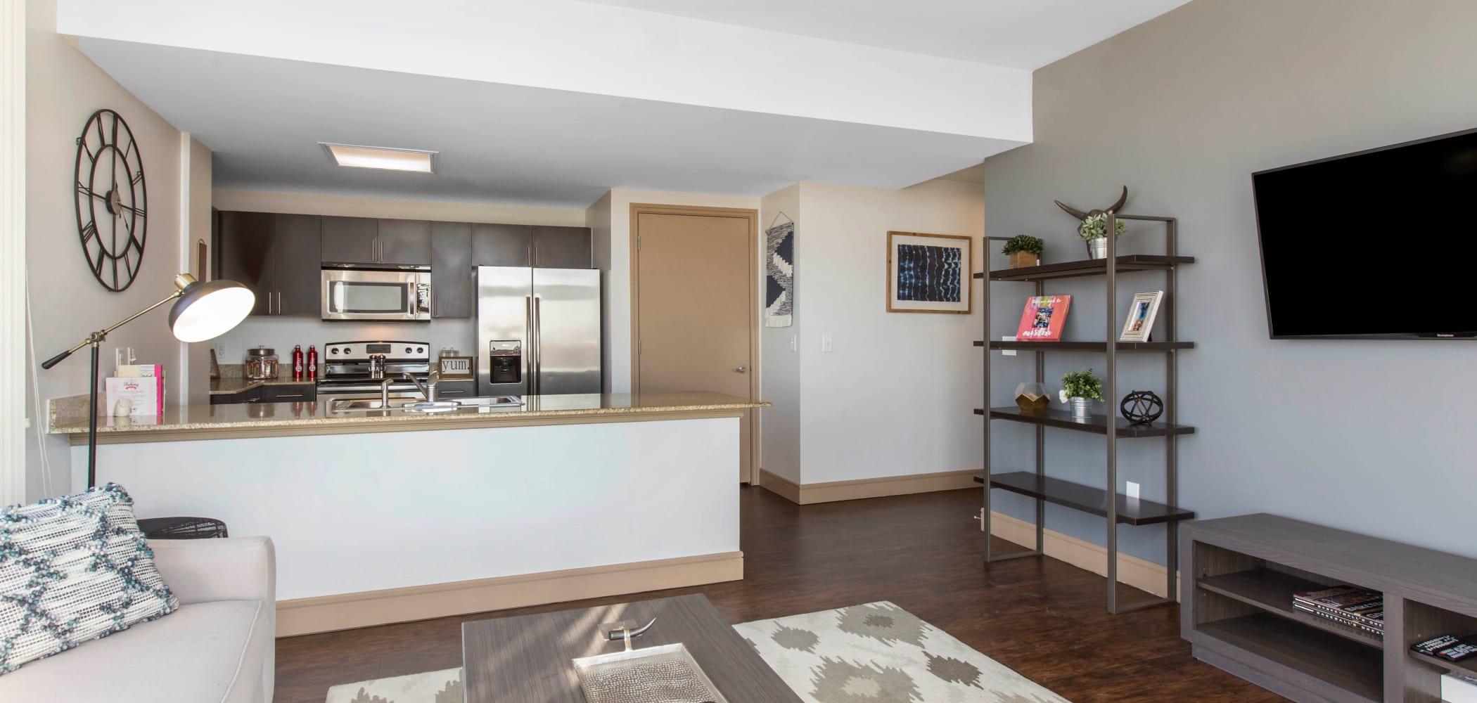 Open concept floor plan at 21 Rio in Austin, Texas