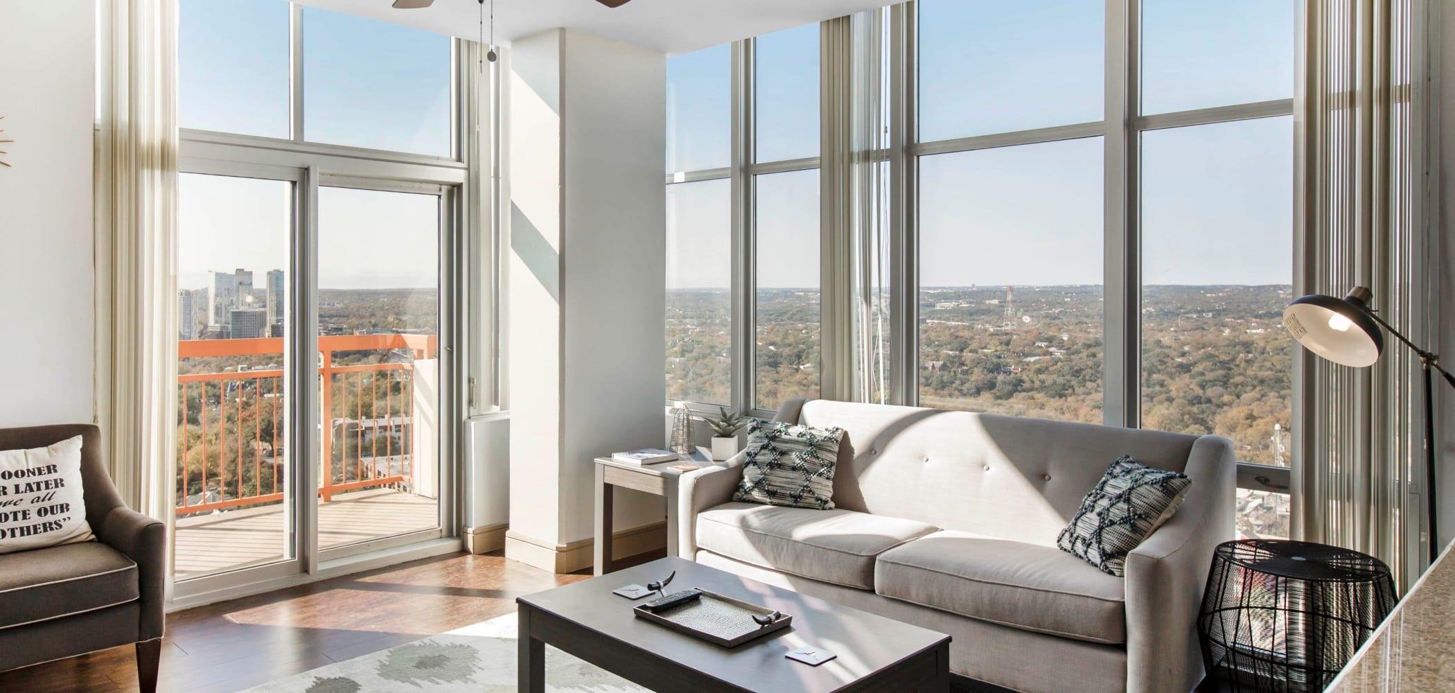 Bright, spacious living room at 21 Rio in Austin, Texas