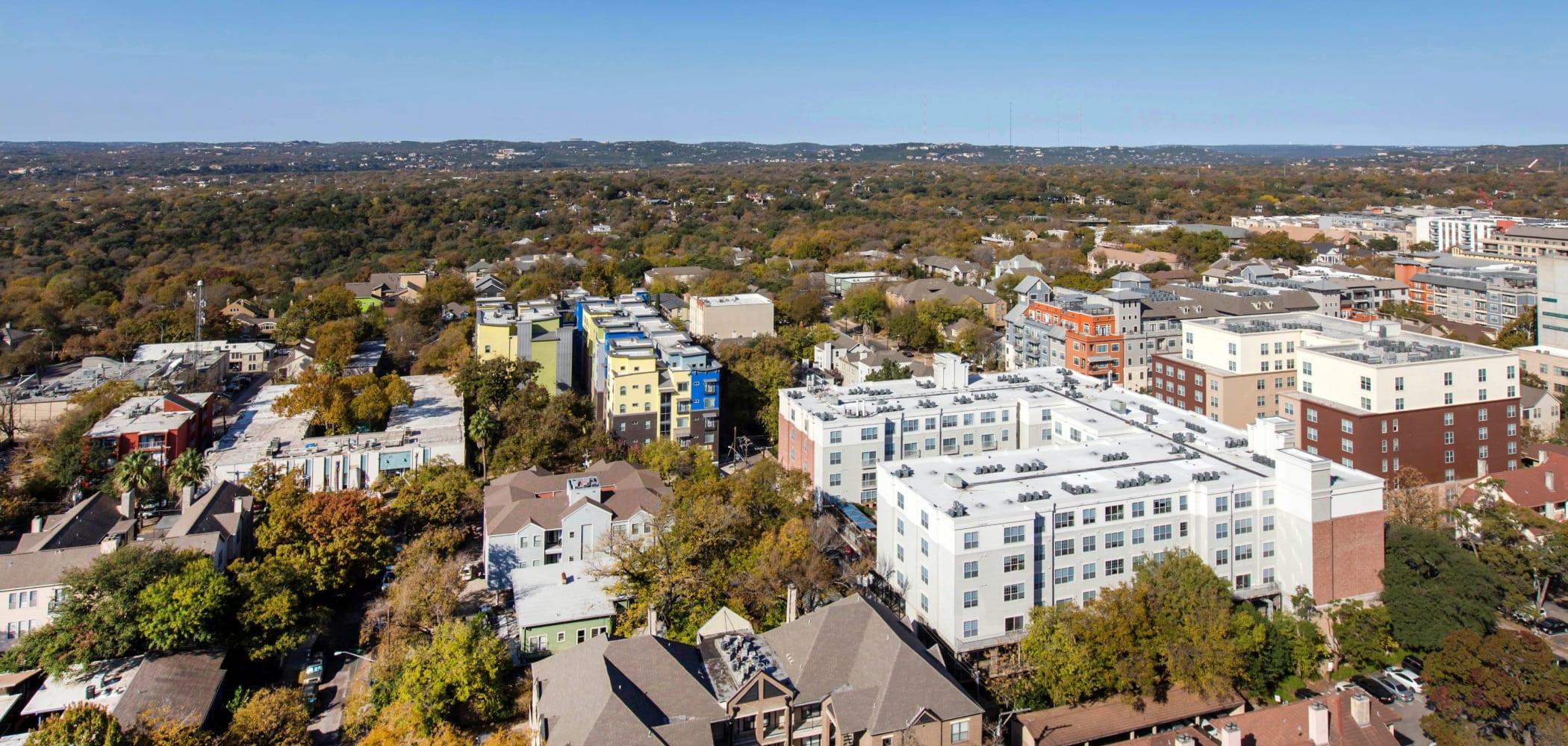 Aerial view of 21 Rio in Austin, Texas