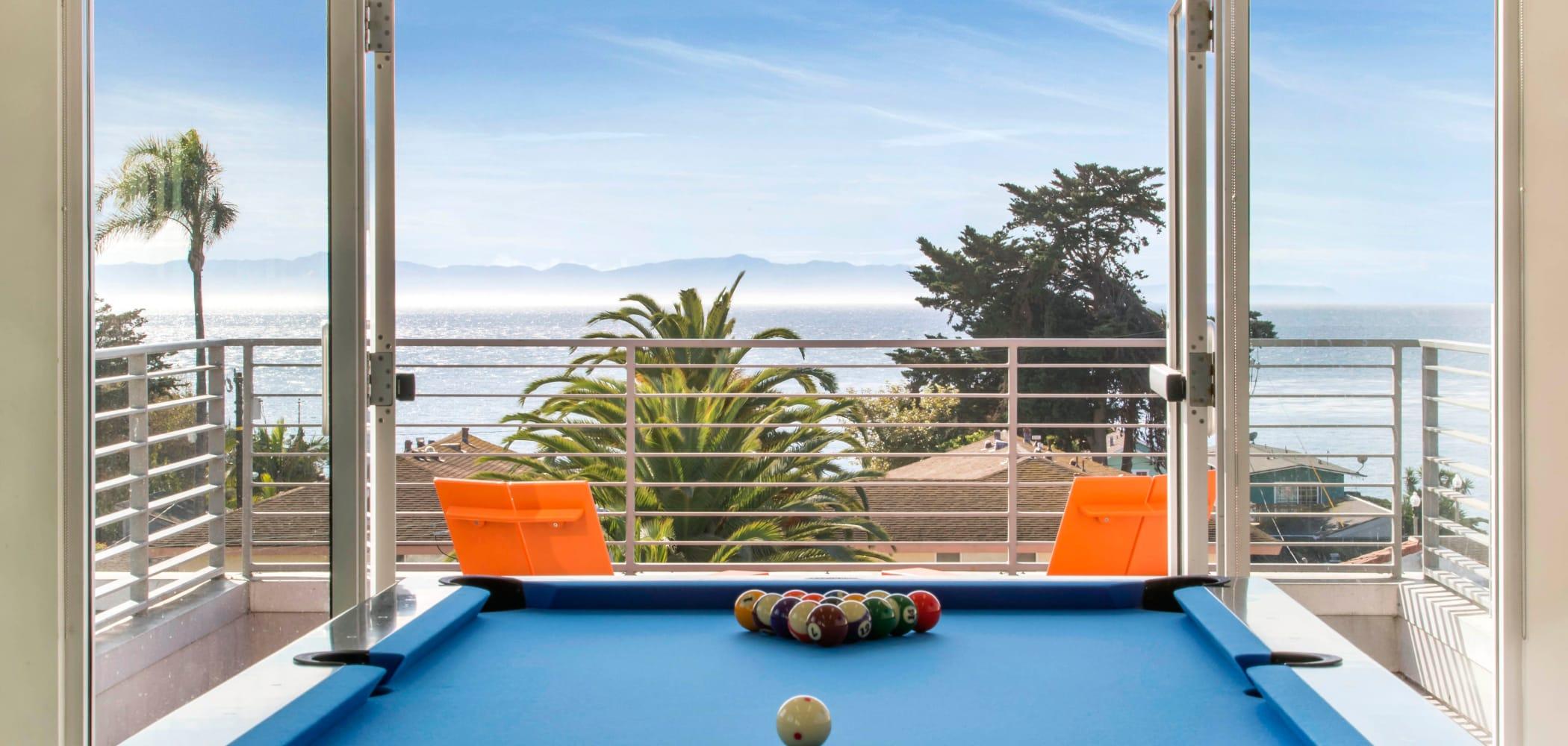 Clubroom with billiards at ICON in Isla Vista, California