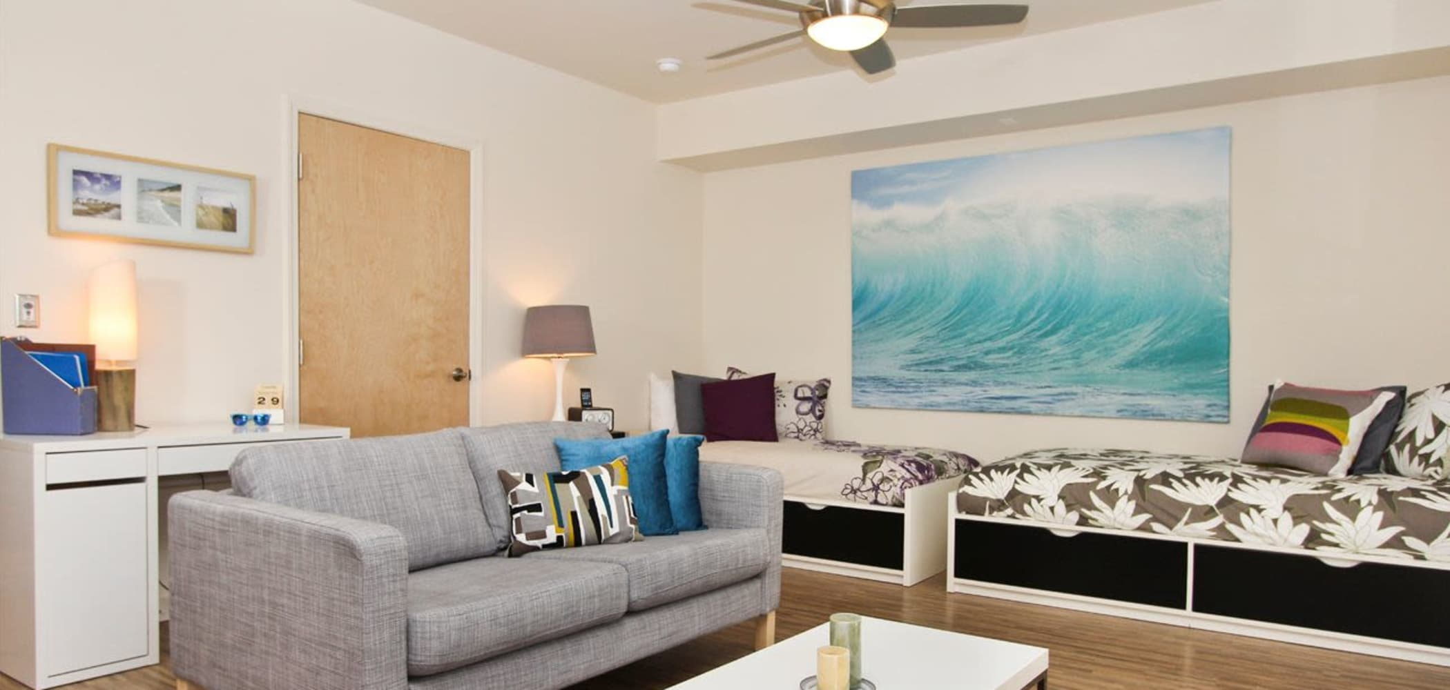 Well decorated living room at ICON in Isla Vista, California