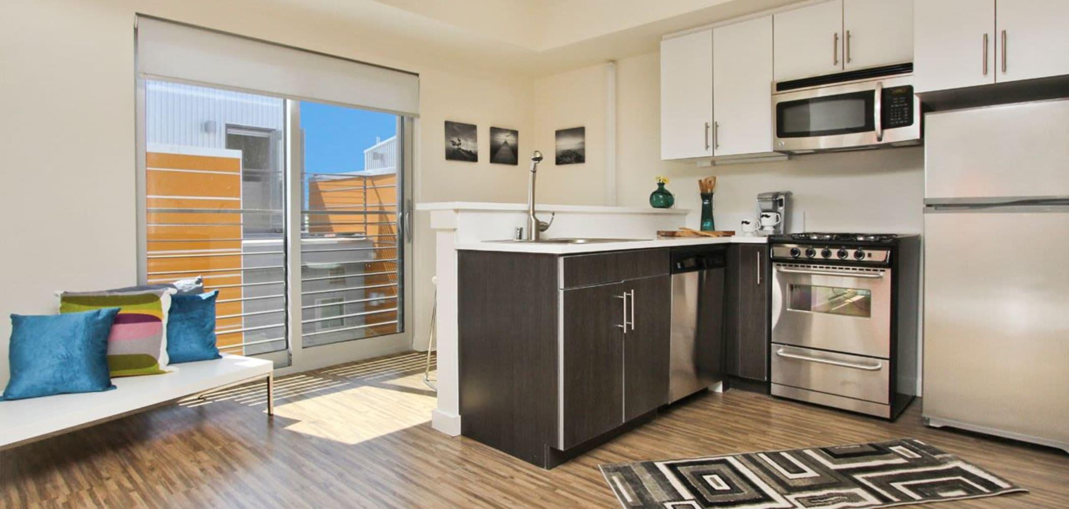 Sleek, modern kitchen at ICON in Isla Vista, California