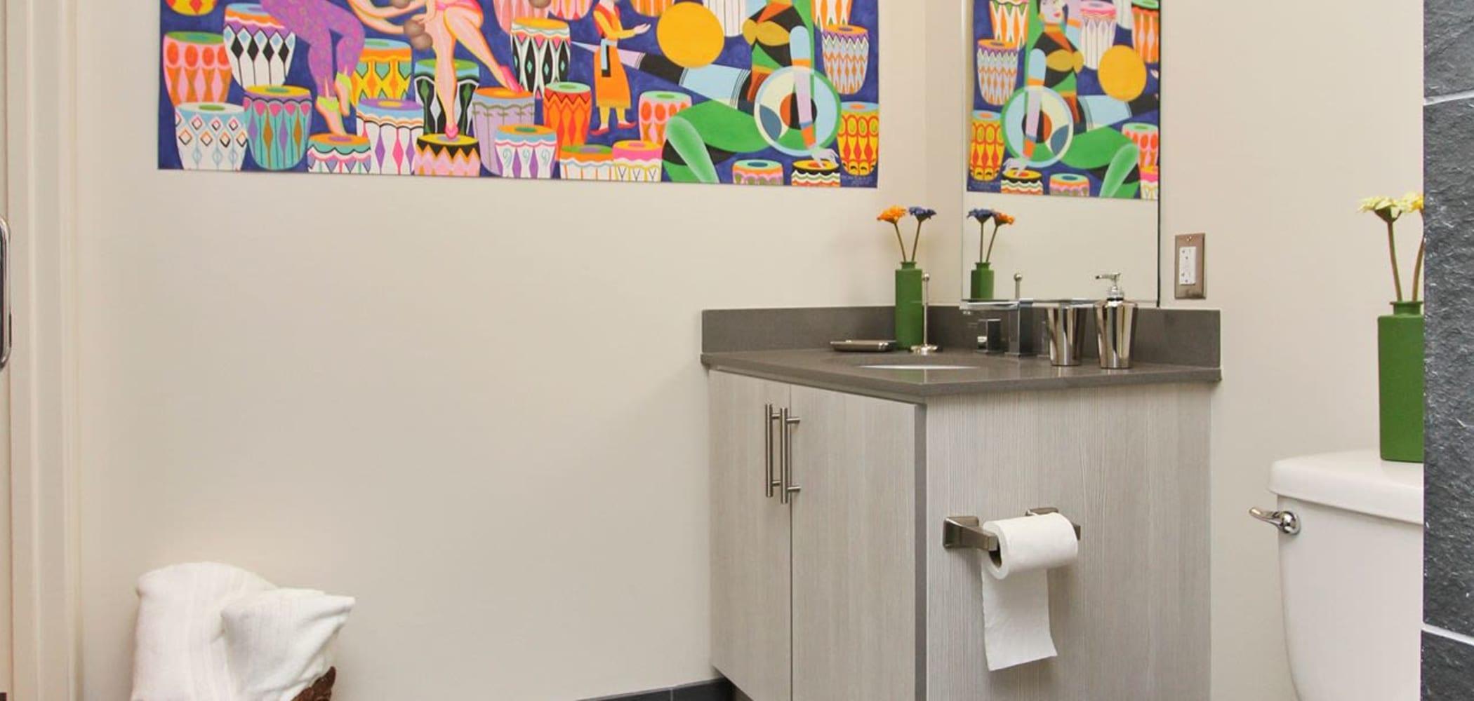 Clean bathroom at ICON in Isla Vista, California