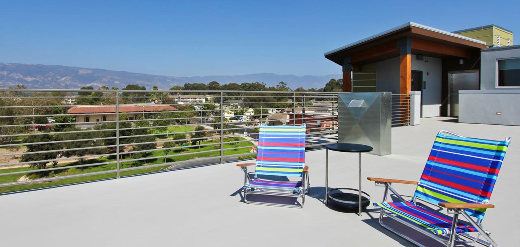 Outdoor rooftop lounge at ICONin Isla Vista, California