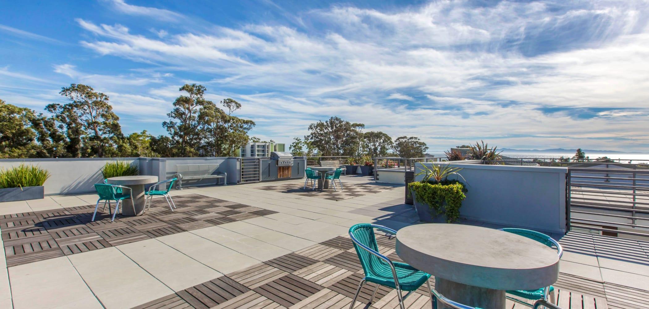 Rooftop patio area at ICON in Isla Vista, California