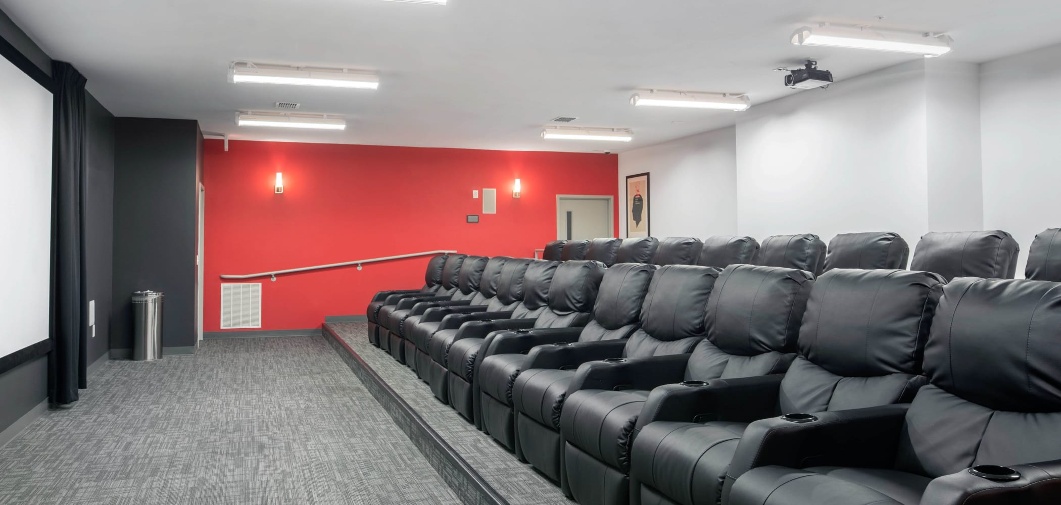 Onsite, indoor movie theater at Onyx in Tallahassee, Florida