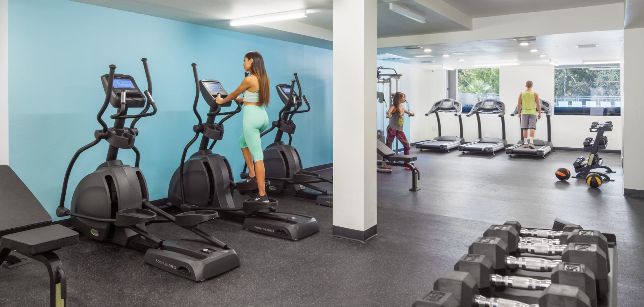 Fully equipped fitness center at Social 28 in Gainesville, Florida