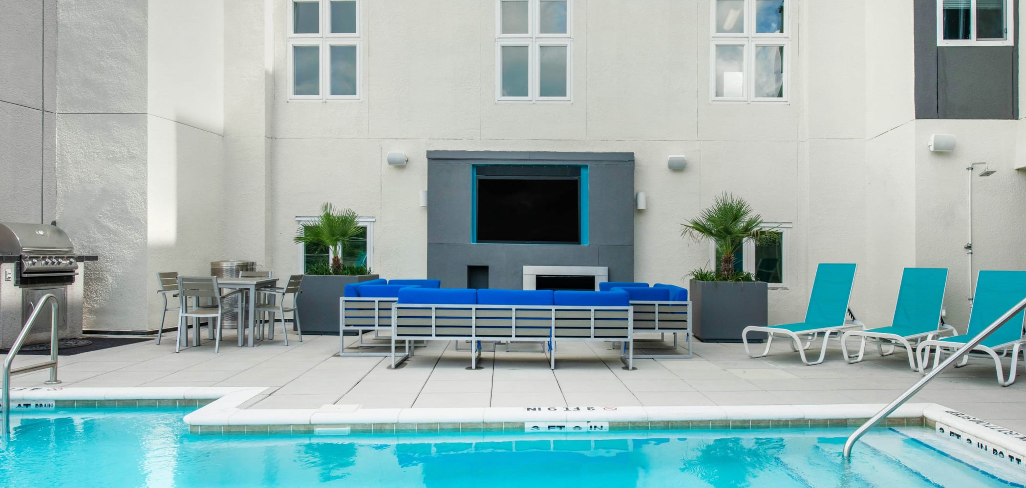 Poolside lounge at Social 28 in Gainesville, Florida