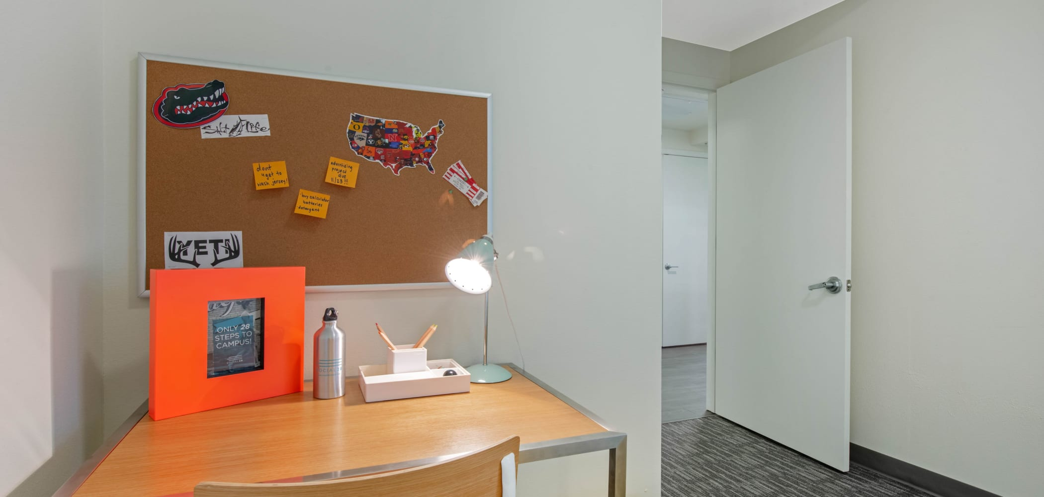 Bedroom study space at Social 28 in Gainesville, Florida