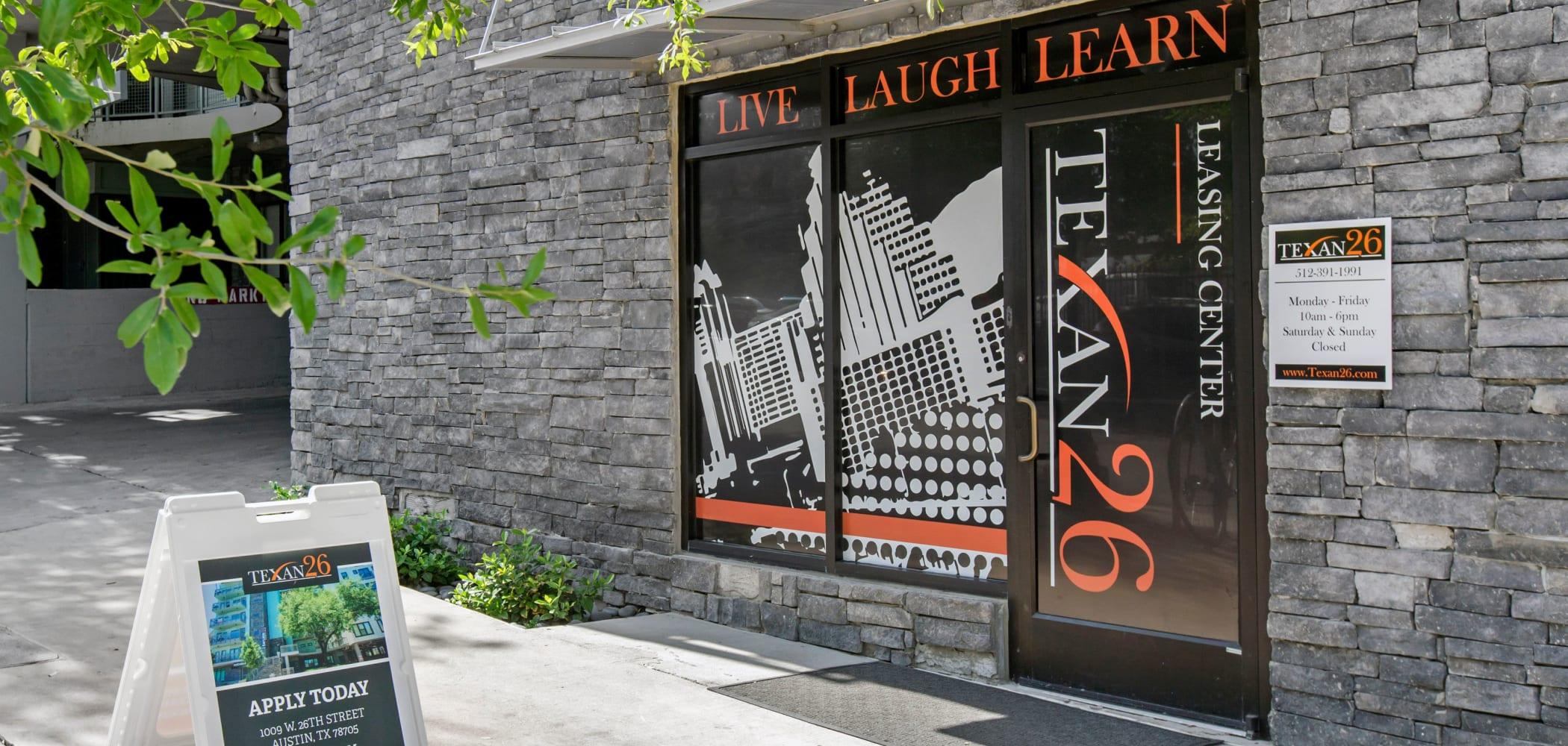 Lobby entrance at Texan 26 in Austin, Texas