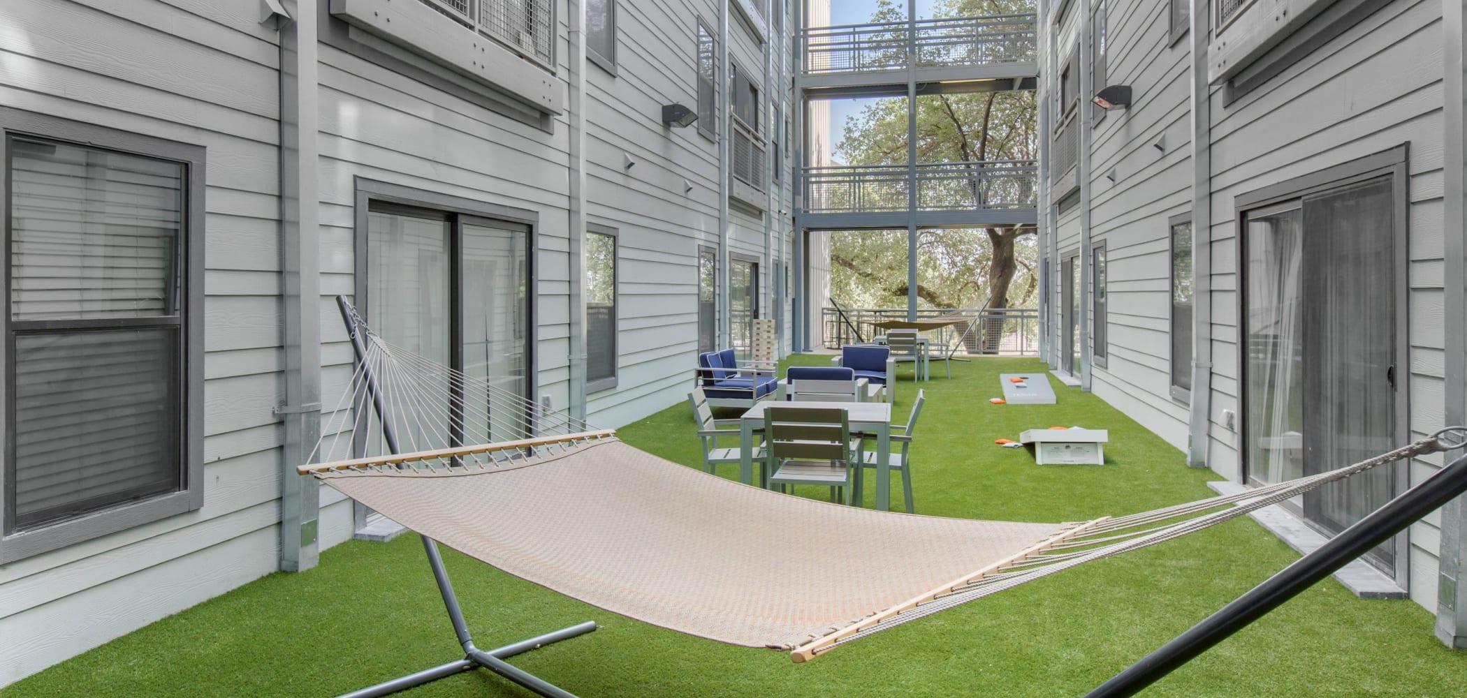 Hammock in Texan 26's courtyard in Austin, Texas