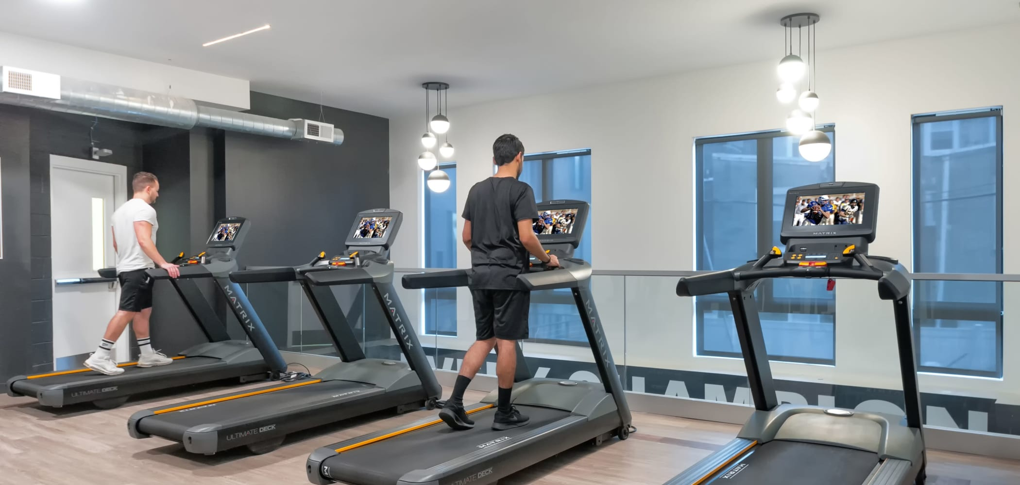 Treadmills in The Link University City's fitness center in Philadelphia, Pennsylvania