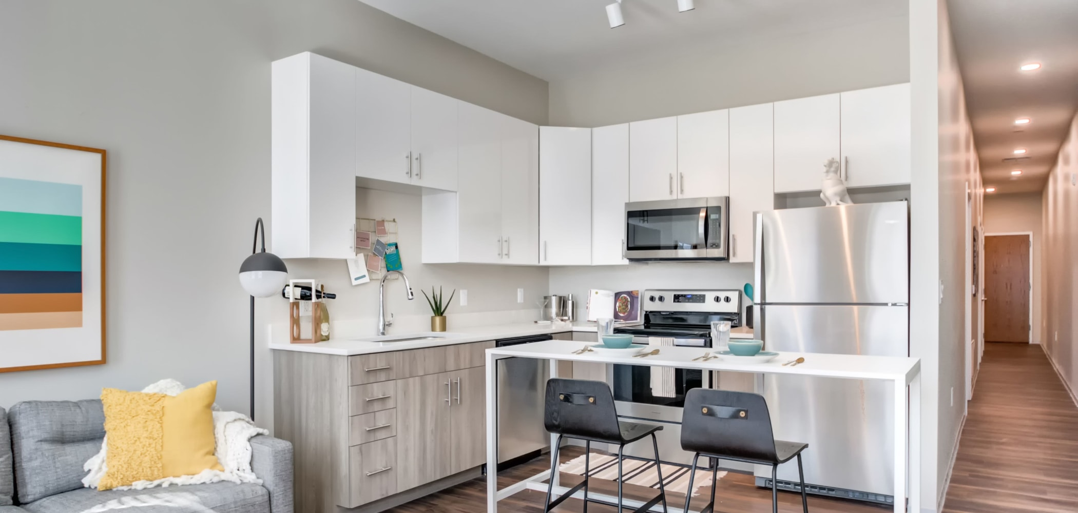 Fully equipped kitchen at The Link University City in Philadelphia, Pennsylvania