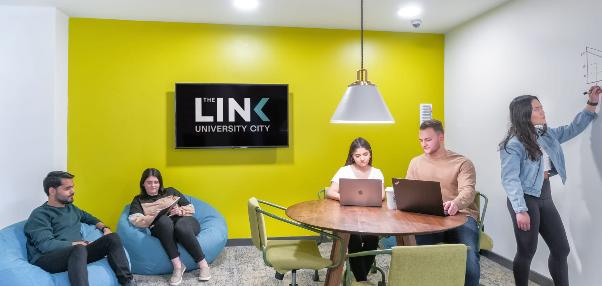 Small group study room at The Link University City in Philadelphia, Pennsylvania