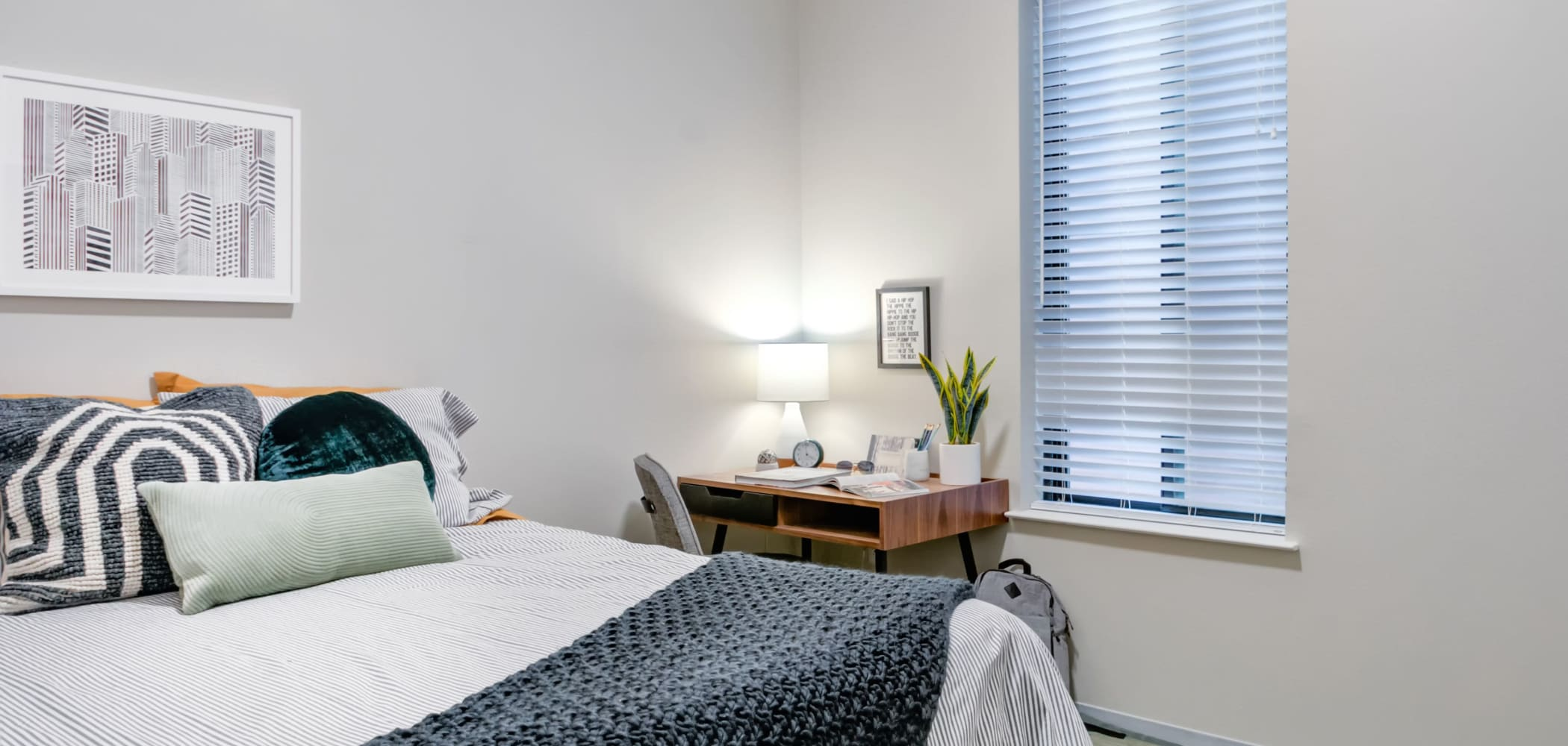 Cozy bedroom at The Link University City in Philadelphia, Pennsylvania