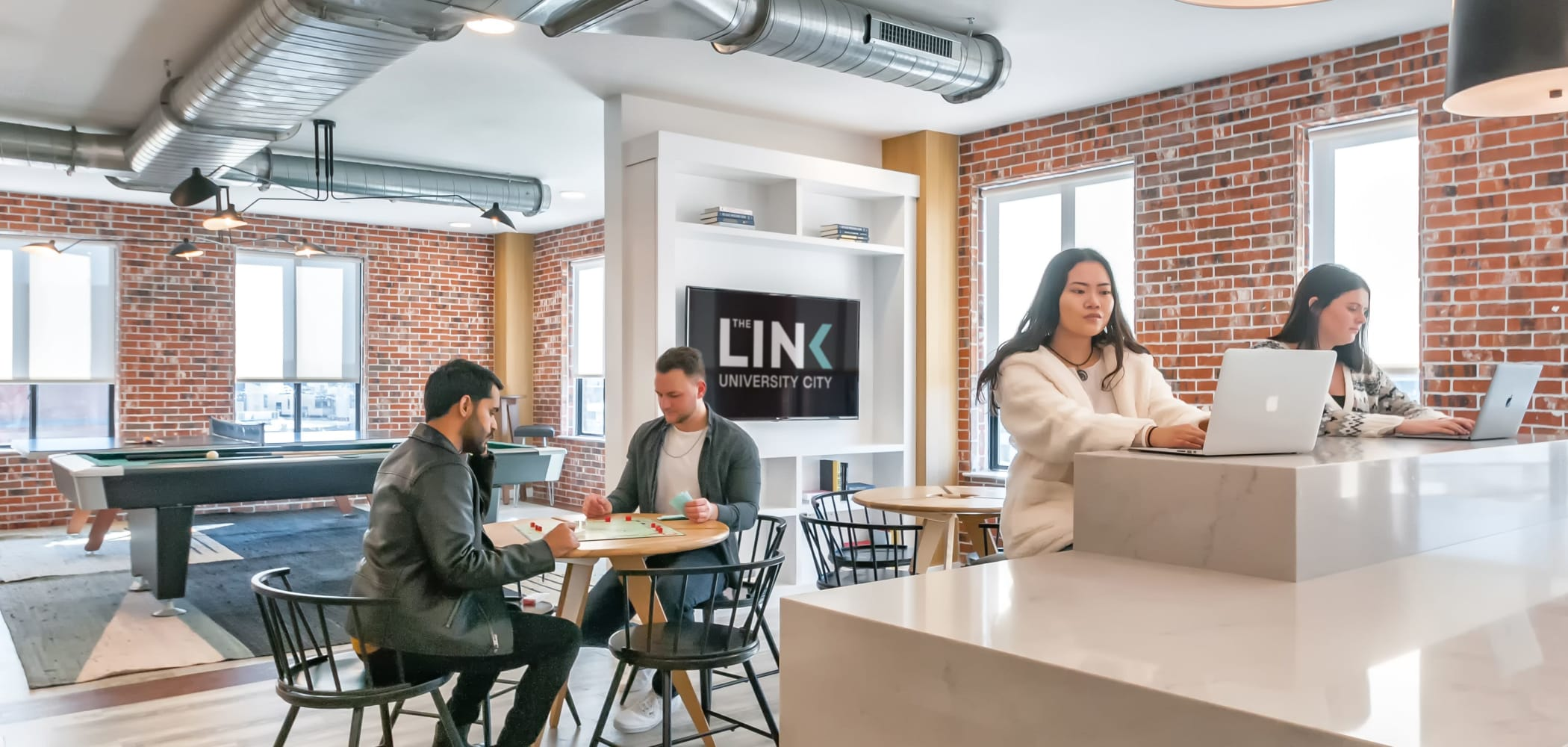 Clubroom at The Link University City in Philadelphia, Pennsylvania