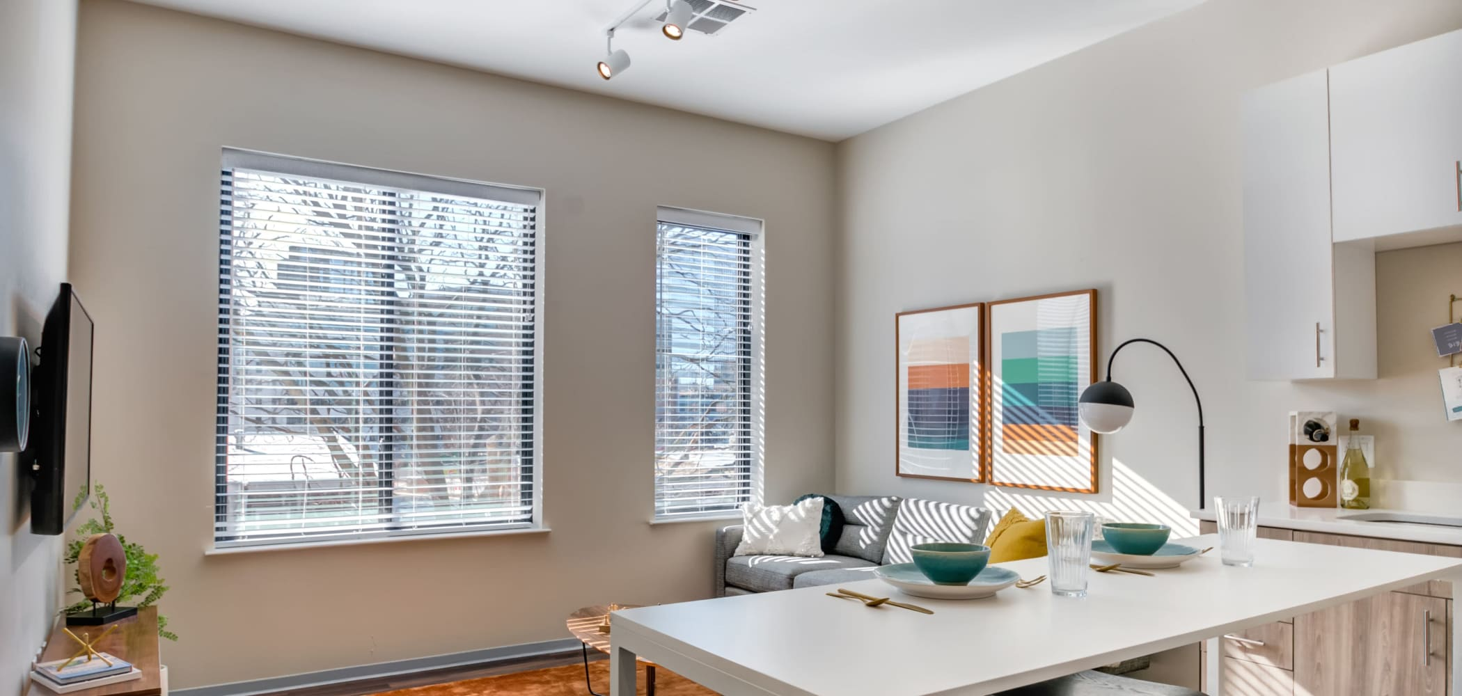 Bright, spacious living room at The Link University City in Philadelphia, Pennsylvania
