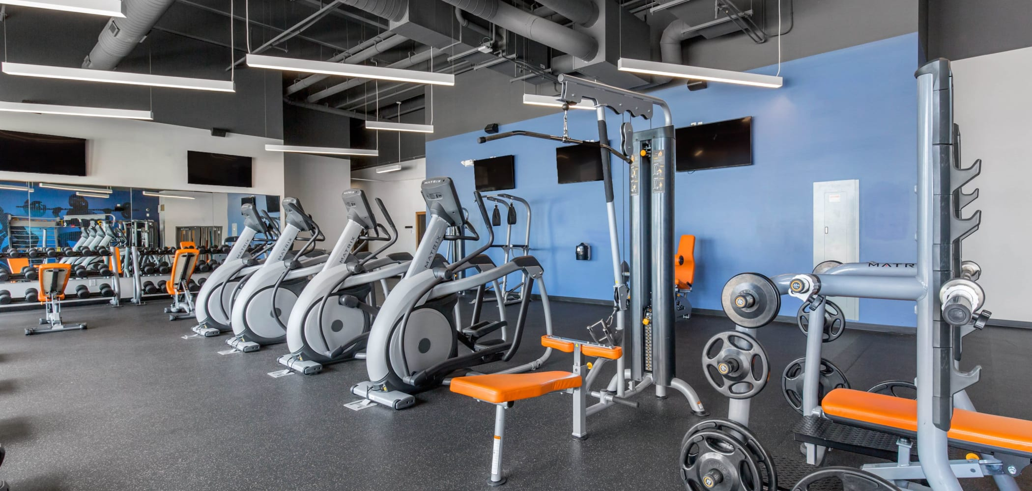 Fully equipped fitness center at West Quad in Champaign, Illinois