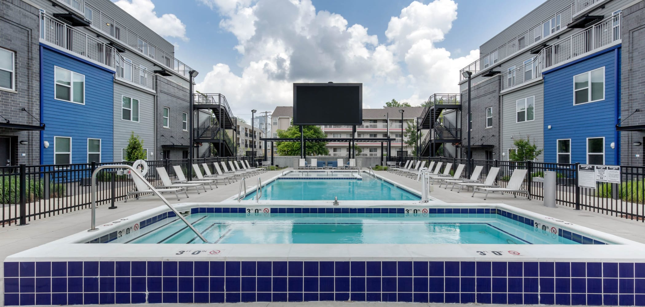 Resort-style swimming pool at West Quad in Champaign, Illinois