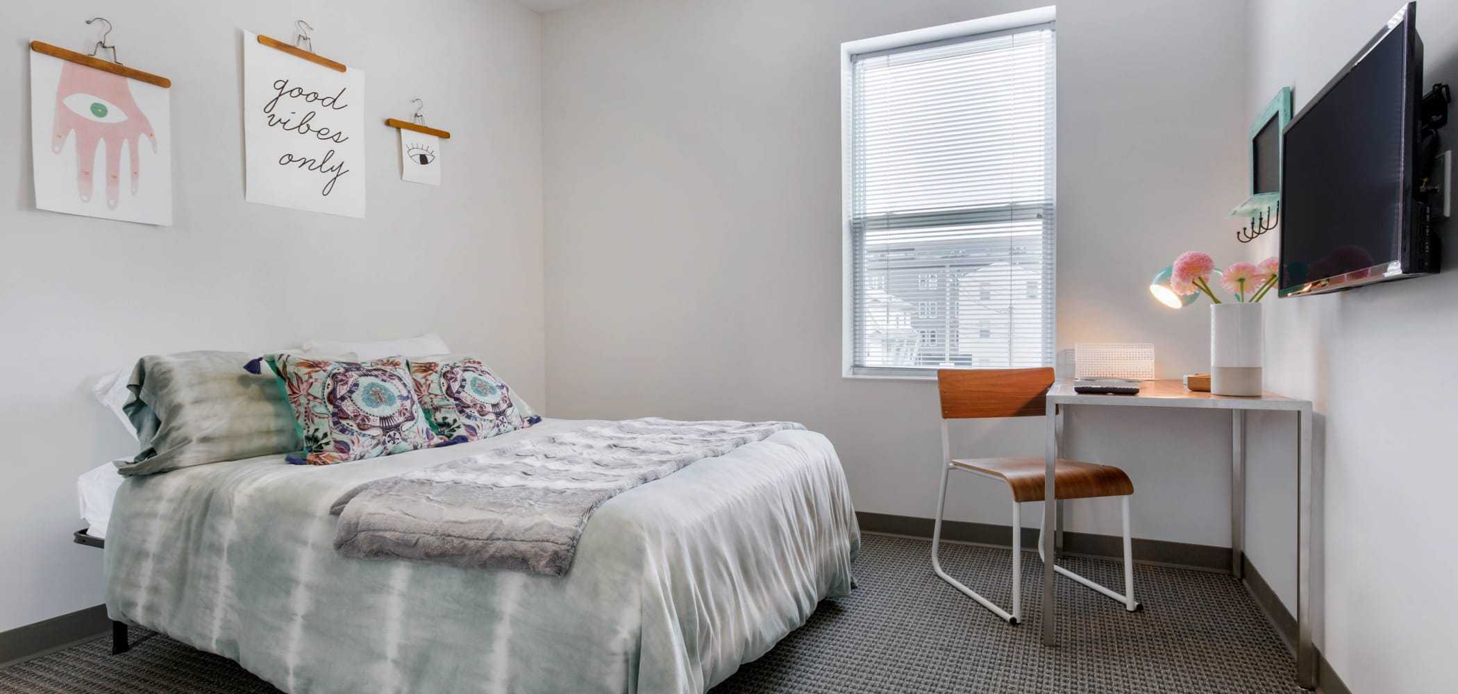 Bedroom with space to study at West Quad in Champaign, Illinois