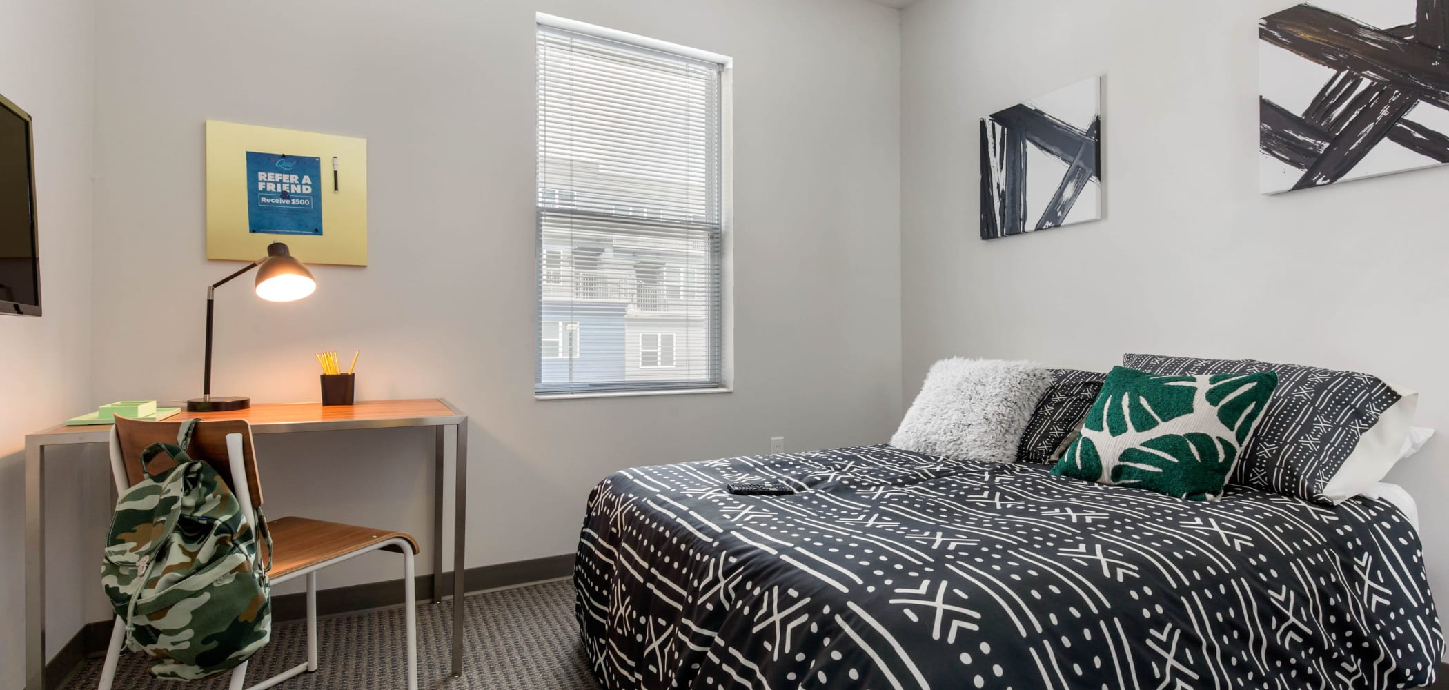 Spacious bedroom at West Quad in Champaign, Illinois