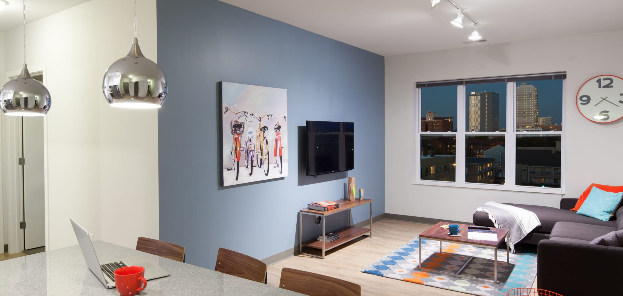 Bright, spacious living room at West Quad in Champaign, Illinois