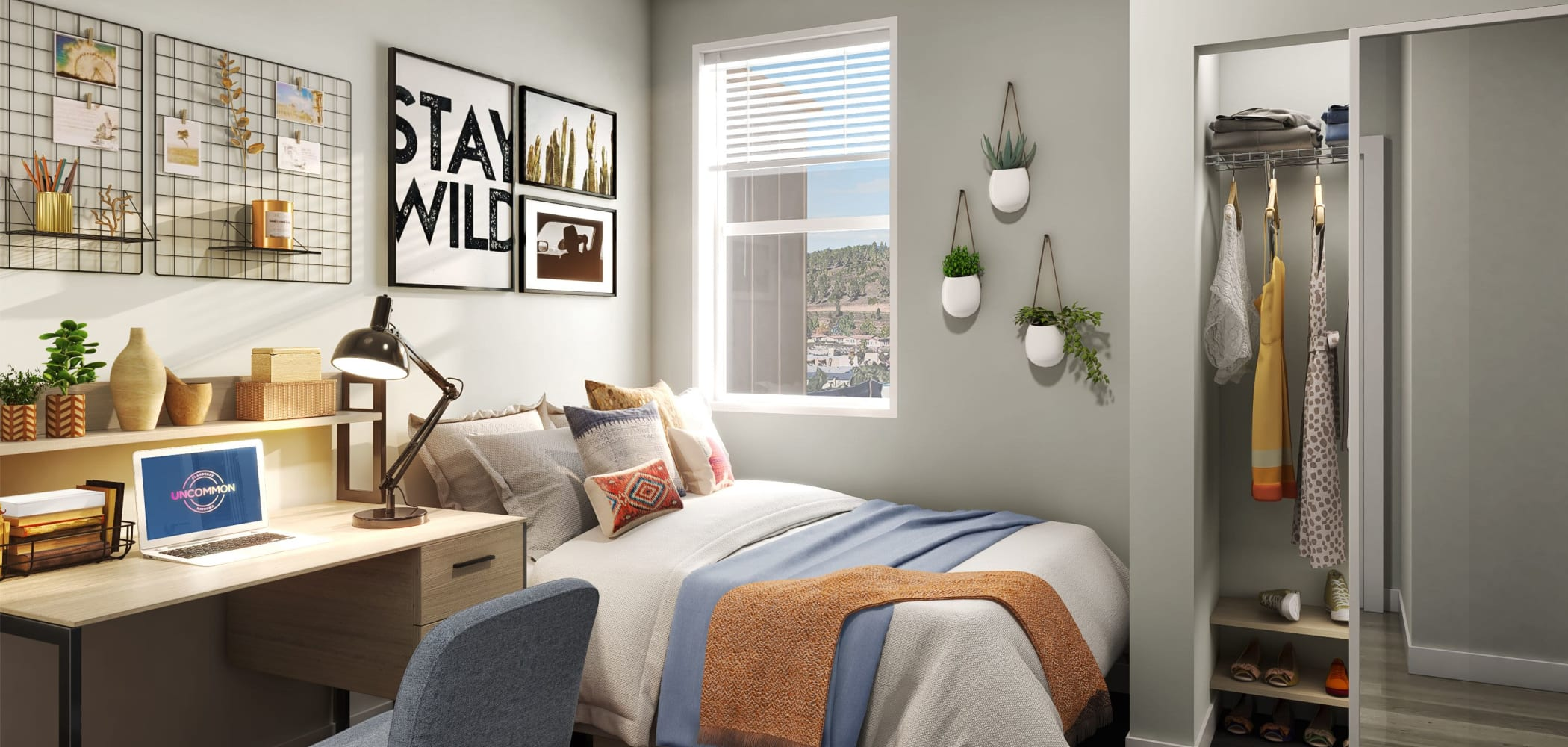 Bedroom with space to study at UNCOMMON Flagstaff in Flagstaff, Arizona